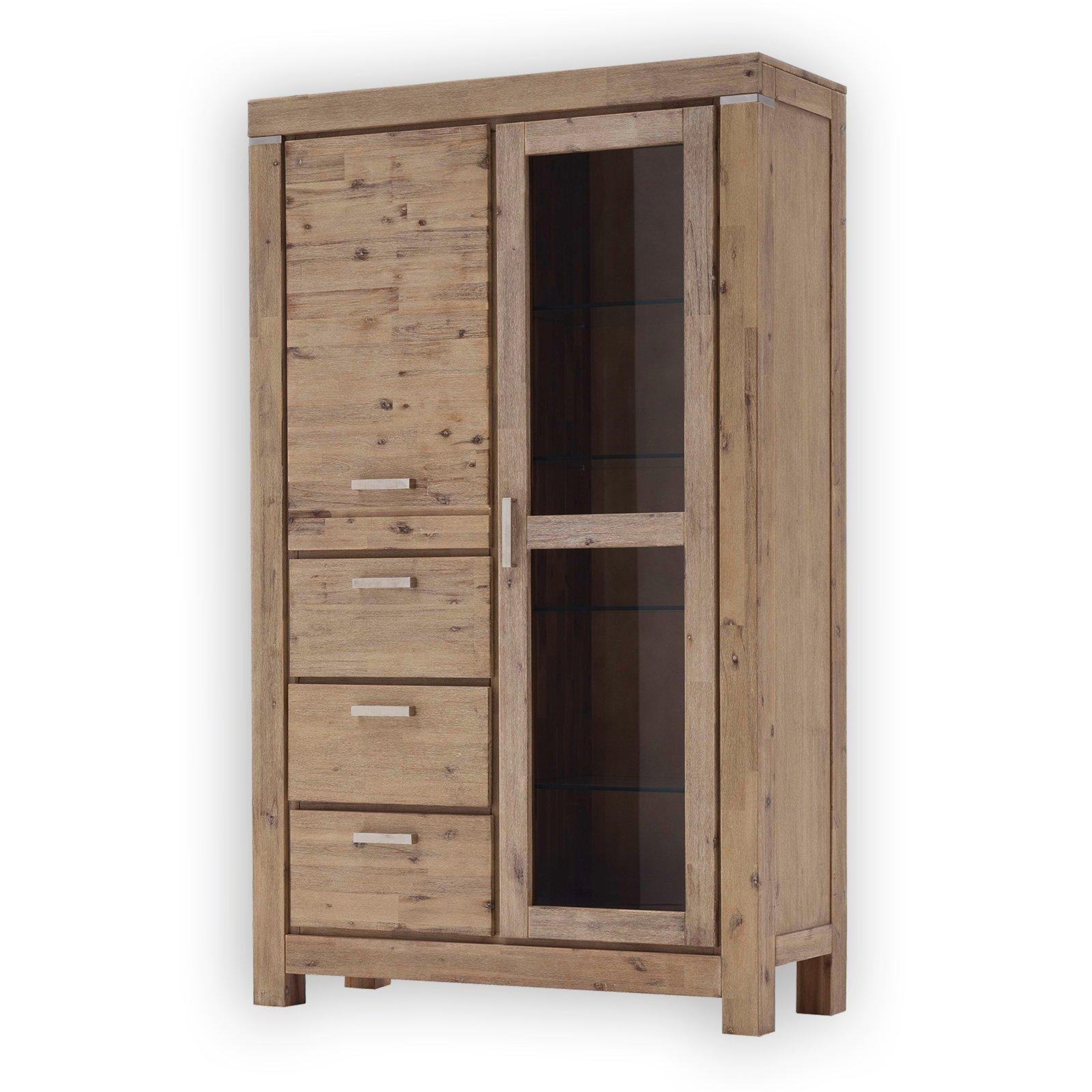 vitrine victoria akazie massiv 115 cm breit vitrinen. Black Bedroom Furniture Sets. Home Design Ideas