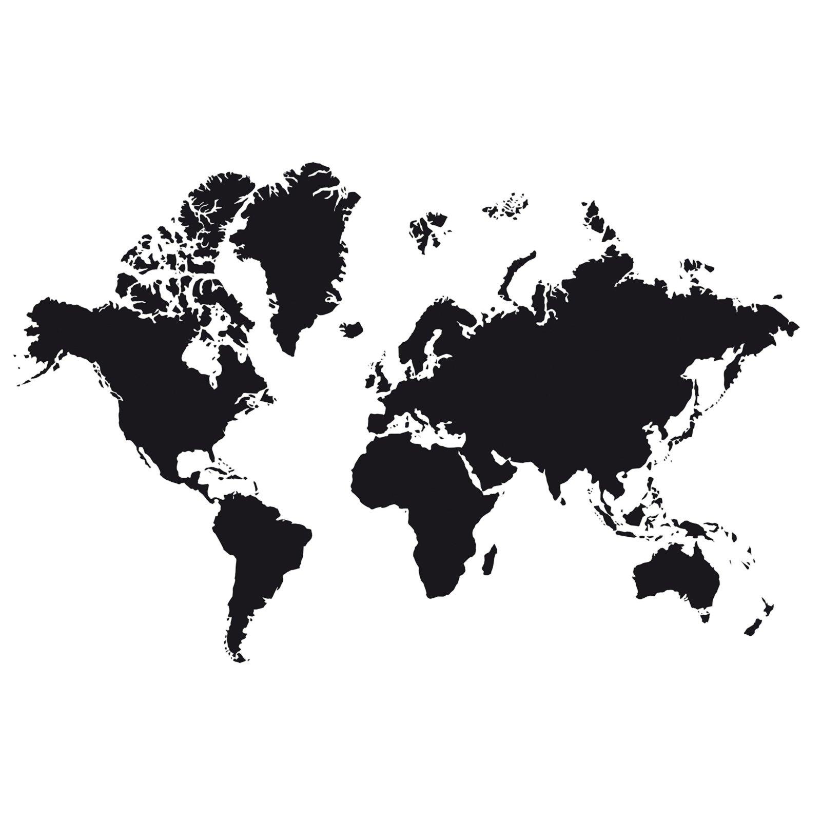 Wunderbar Wandtattoo Weltkarte Sammlung Von - Schwarz - Selbstklebend
