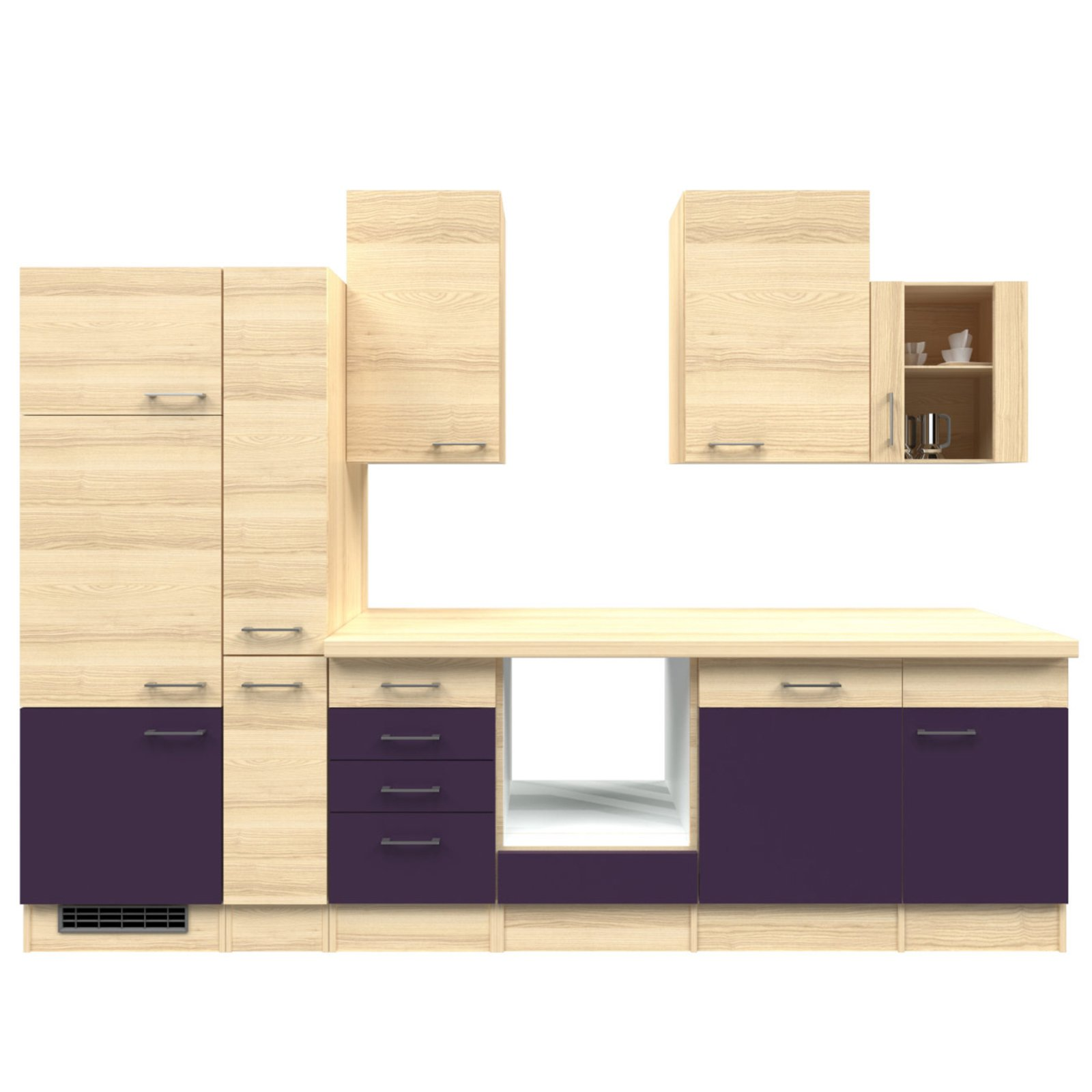 k chenblock focus akazie aubergine 310 cm k chenzeilen ohne e ger te k chenzeilen. Black Bedroom Furniture Sets. Home Design Ideas