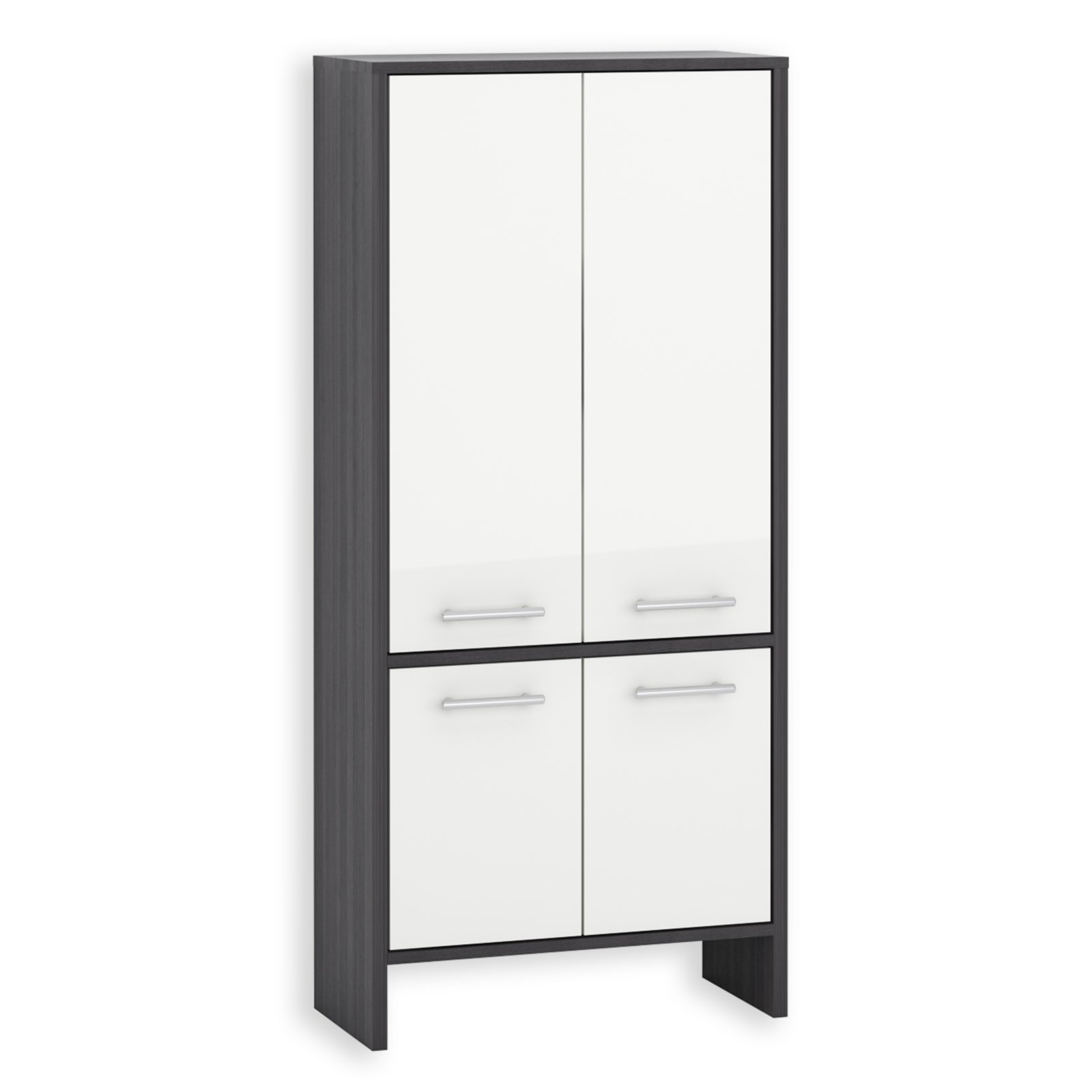 hochschrank marcus wei hochglanz esche grau 62x136 cm badezimmer hoch midischr nke. Black Bedroom Furniture Sets. Home Design Ideas