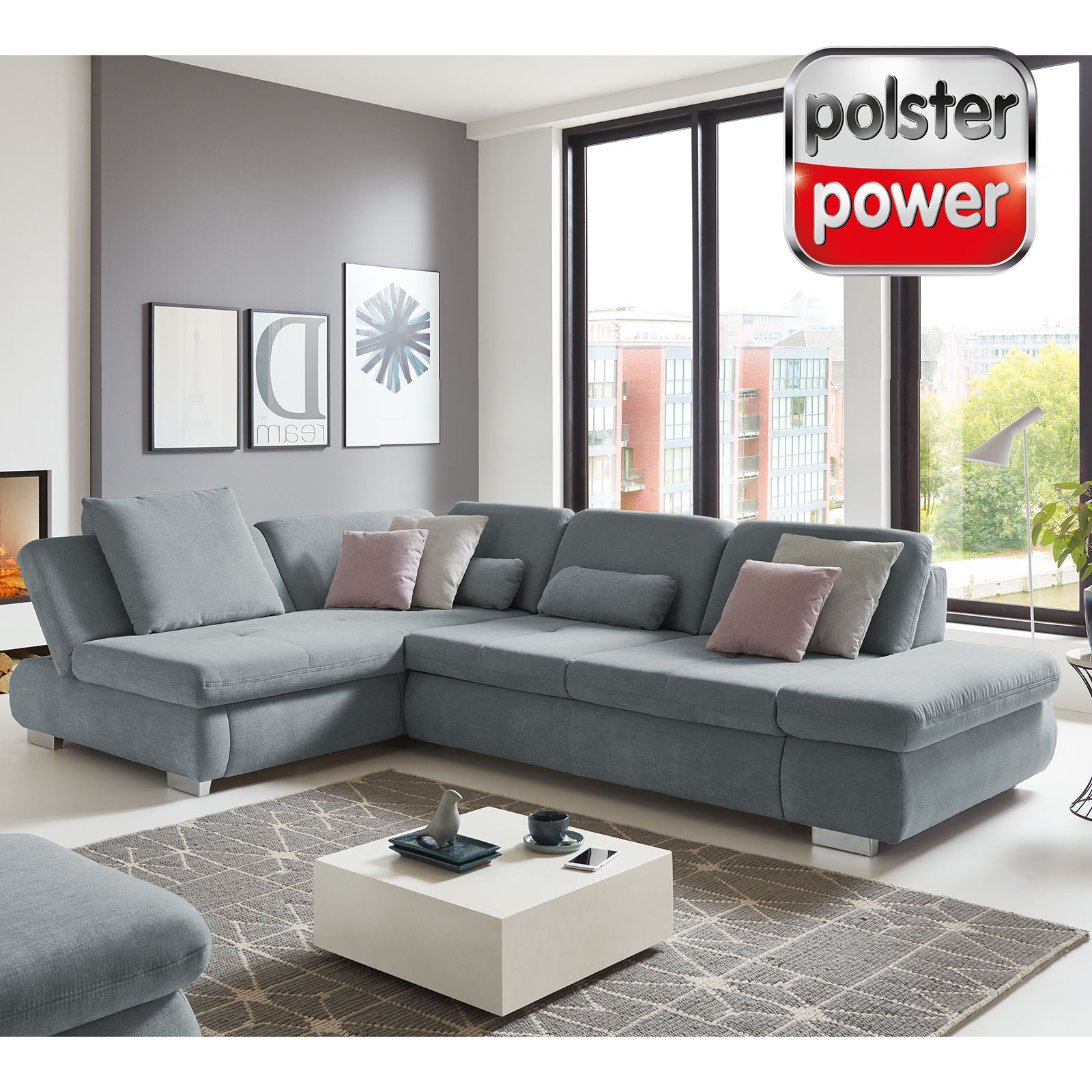 polsterpower Ecksofa - hellblau - Basismodell - Longchair links