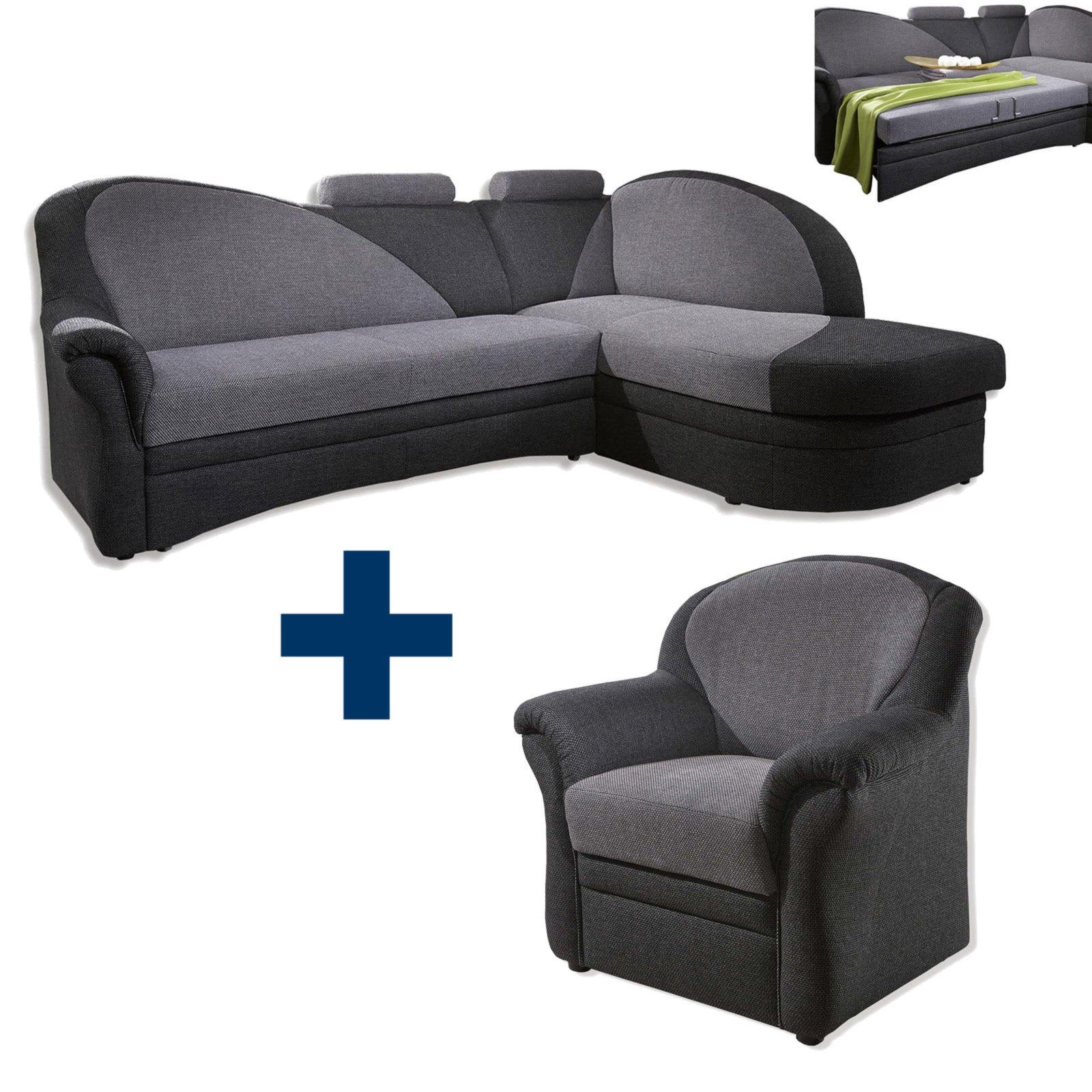 set ecksofa mit sessel alu anthrazit mit funktion. Black Bedroom Furniture Sets. Home Design Ideas