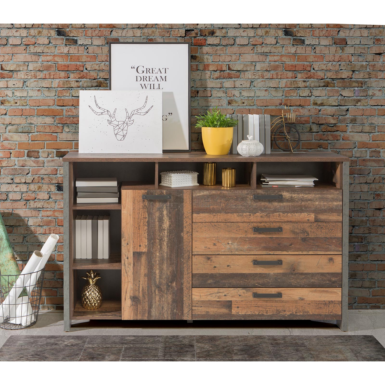 Sideboard - Old Wood Vintage - Betonoptik