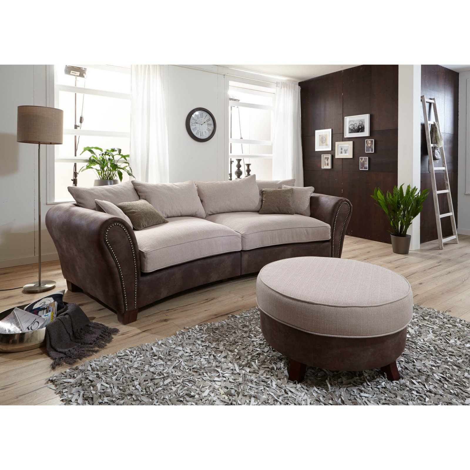 big sofa braun beige inklusive kissen ebay. Black Bedroom Furniture Sets. Home Design Ideas