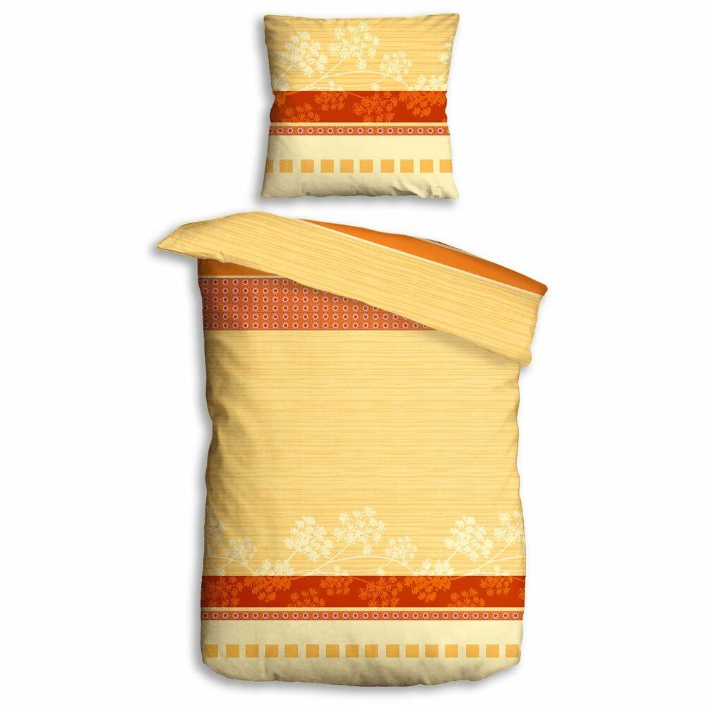 microfaser bettw sche gelb orange klassik 135x200 cm. Black Bedroom Furniture Sets. Home Design Ideas