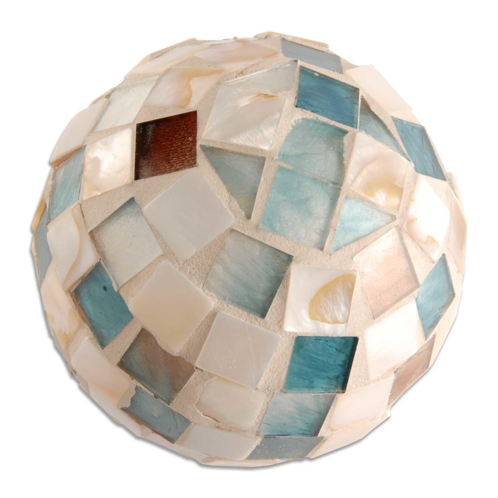 Dekokugel - Mosaik - blau-beige - 8,5 cm