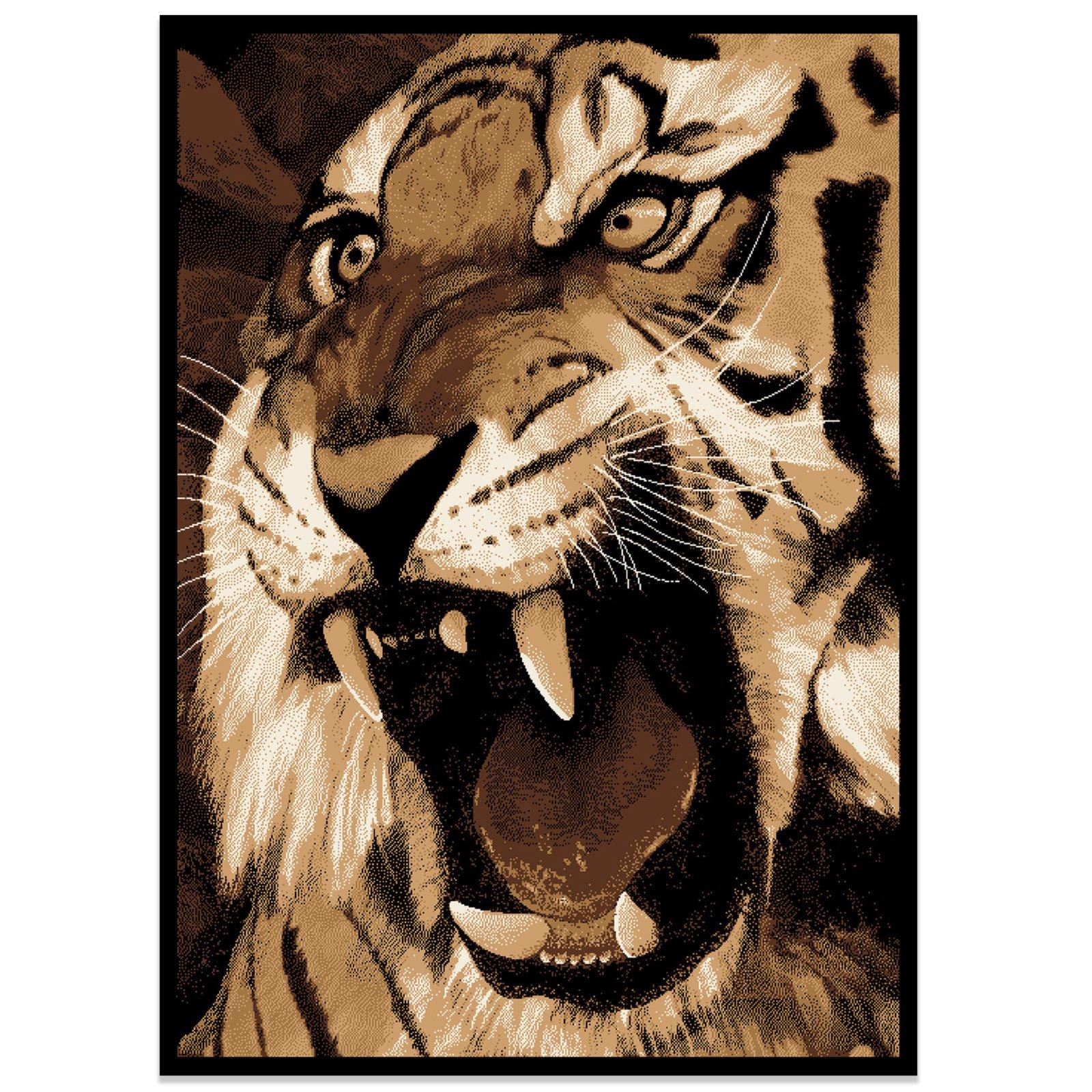 Teppich AFRIKA  braunschwarz  Tiger  77×150 cm