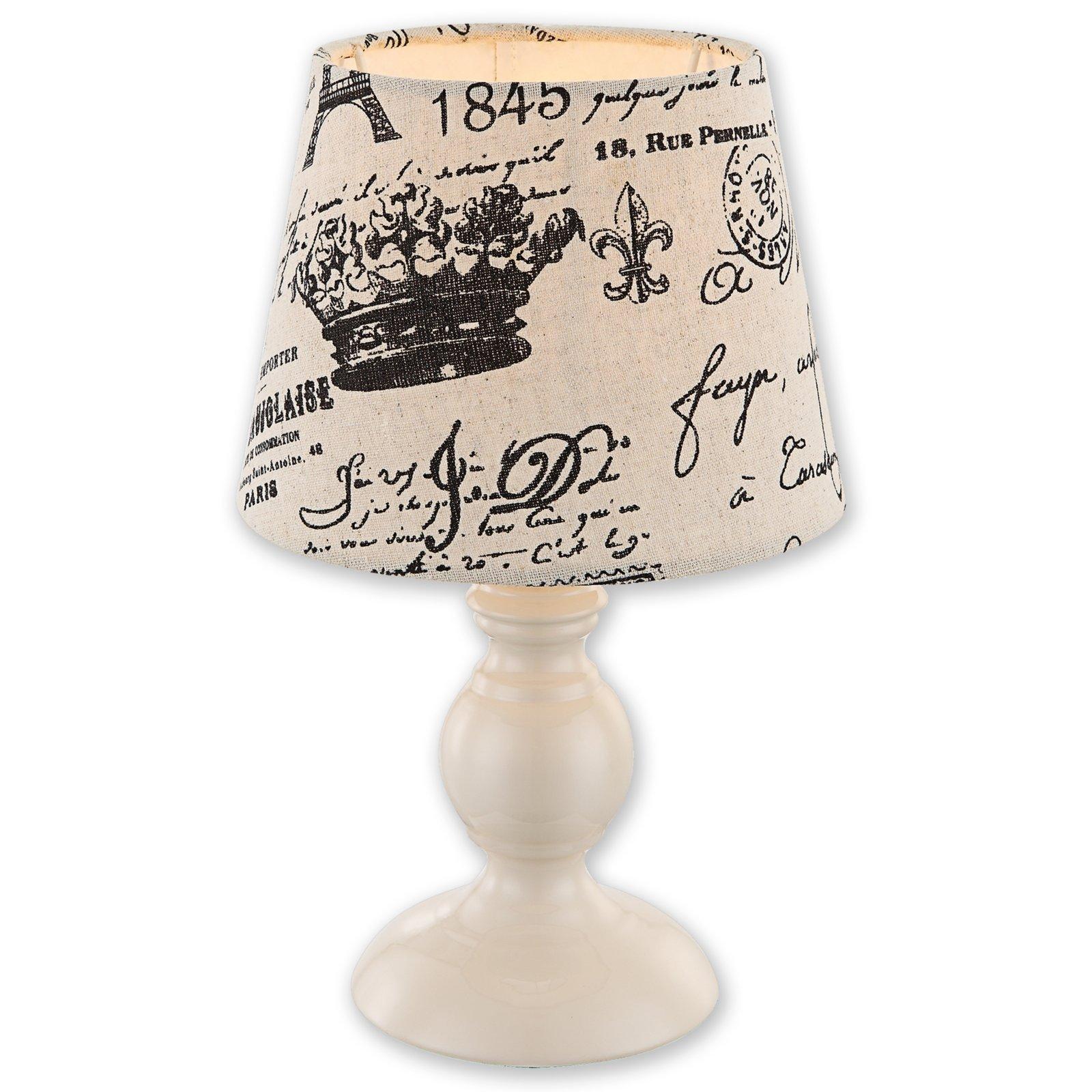 tischlampe barok creme mit print metall tischlampen lampen roller m belhaus. Black Bedroom Furniture Sets. Home Design Ideas