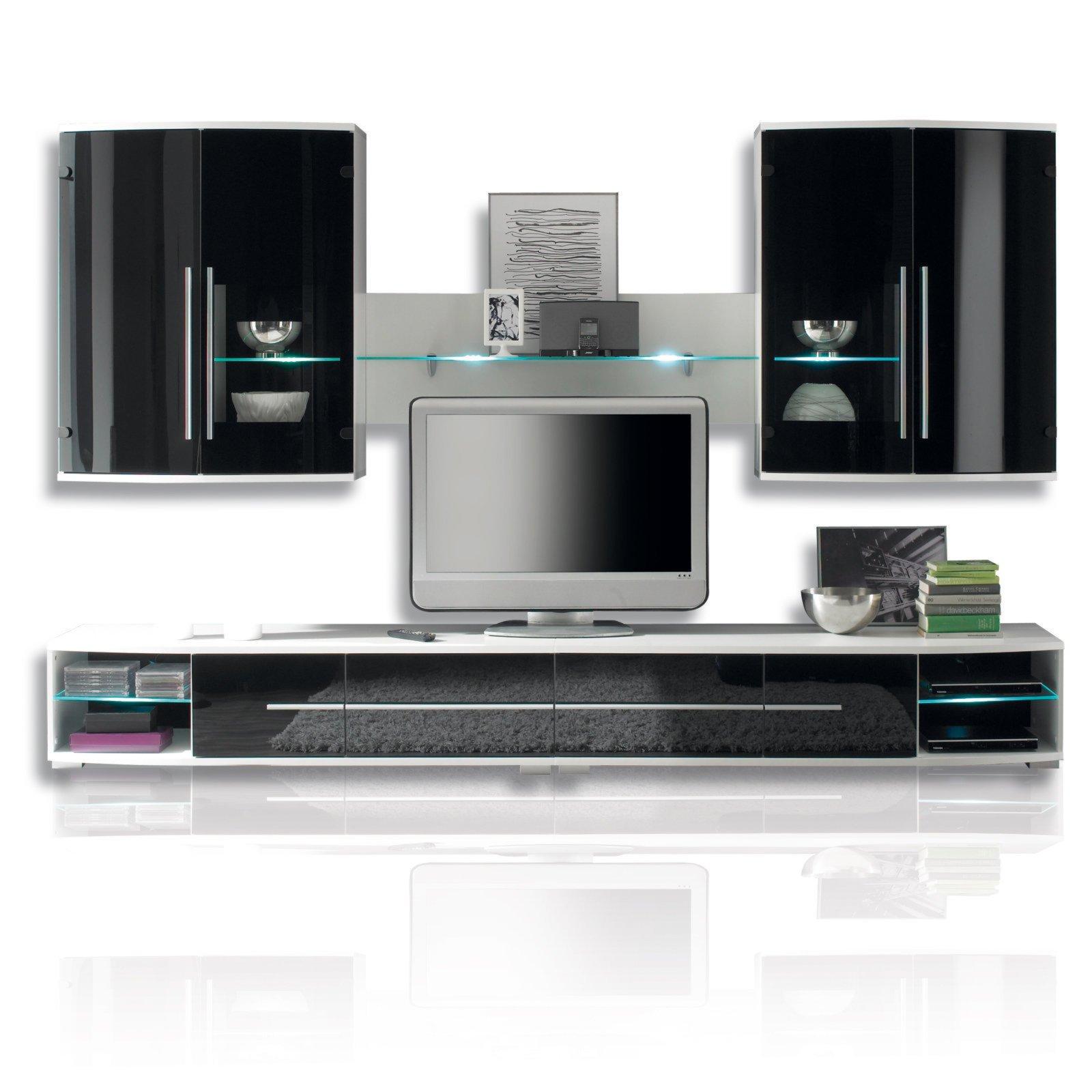 wohnwand blackstar schwarz mit beleuchtung 300 cm wohnw nde wohnw nde m bel. Black Bedroom Furniture Sets. Home Design Ideas