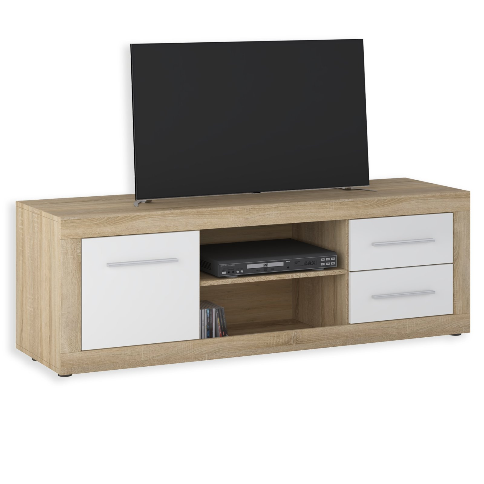 lowboard jana sonoma eiche wei 155 cm tv lowboards. Black Bedroom Furniture Sets. Home Design Ideas