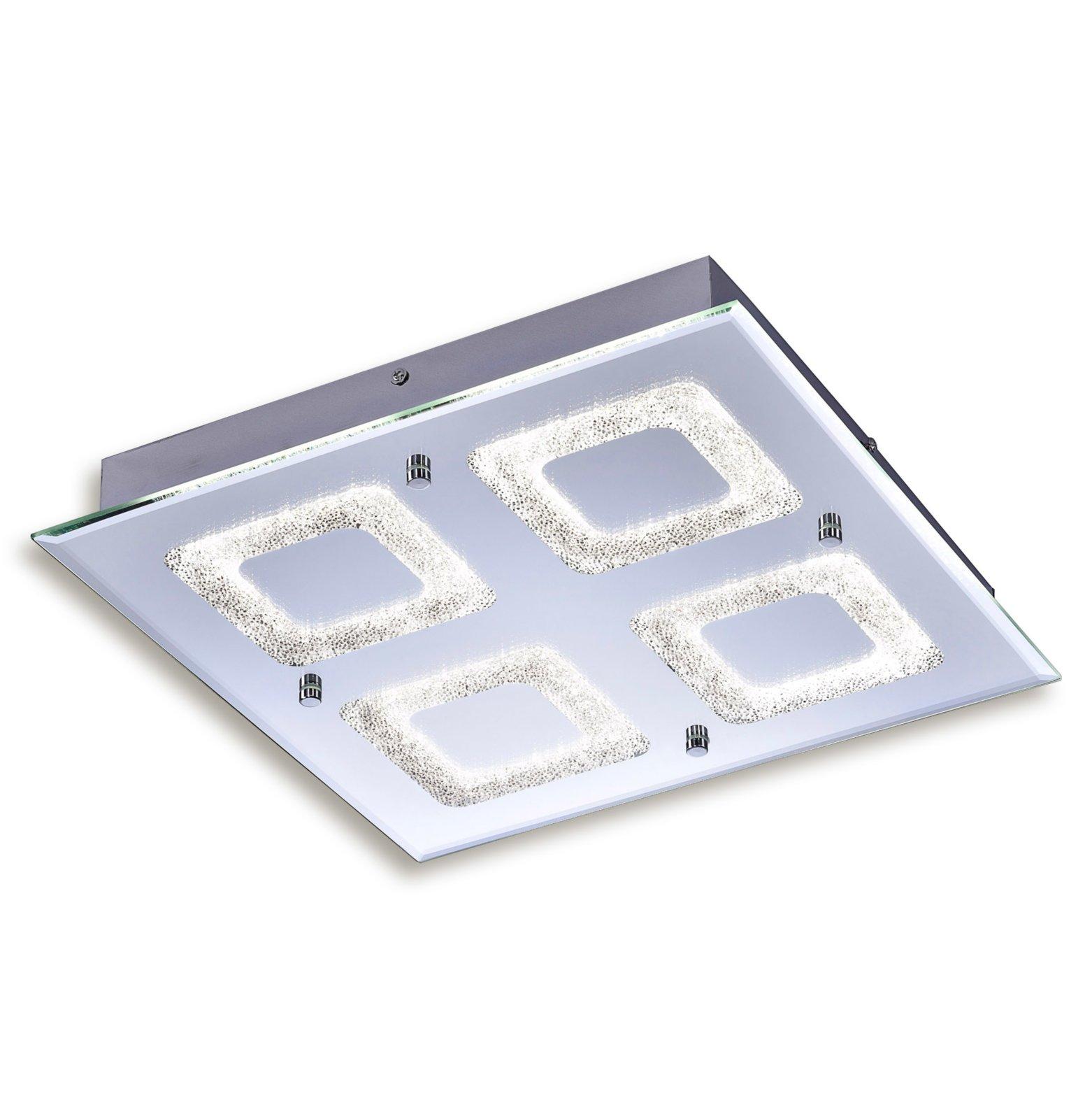 led deckenleuchte lisa chrom glas 36x36 cm led deckenleuchten deckenleuchten lampen. Black Bedroom Furniture Sets. Home Design Ideas