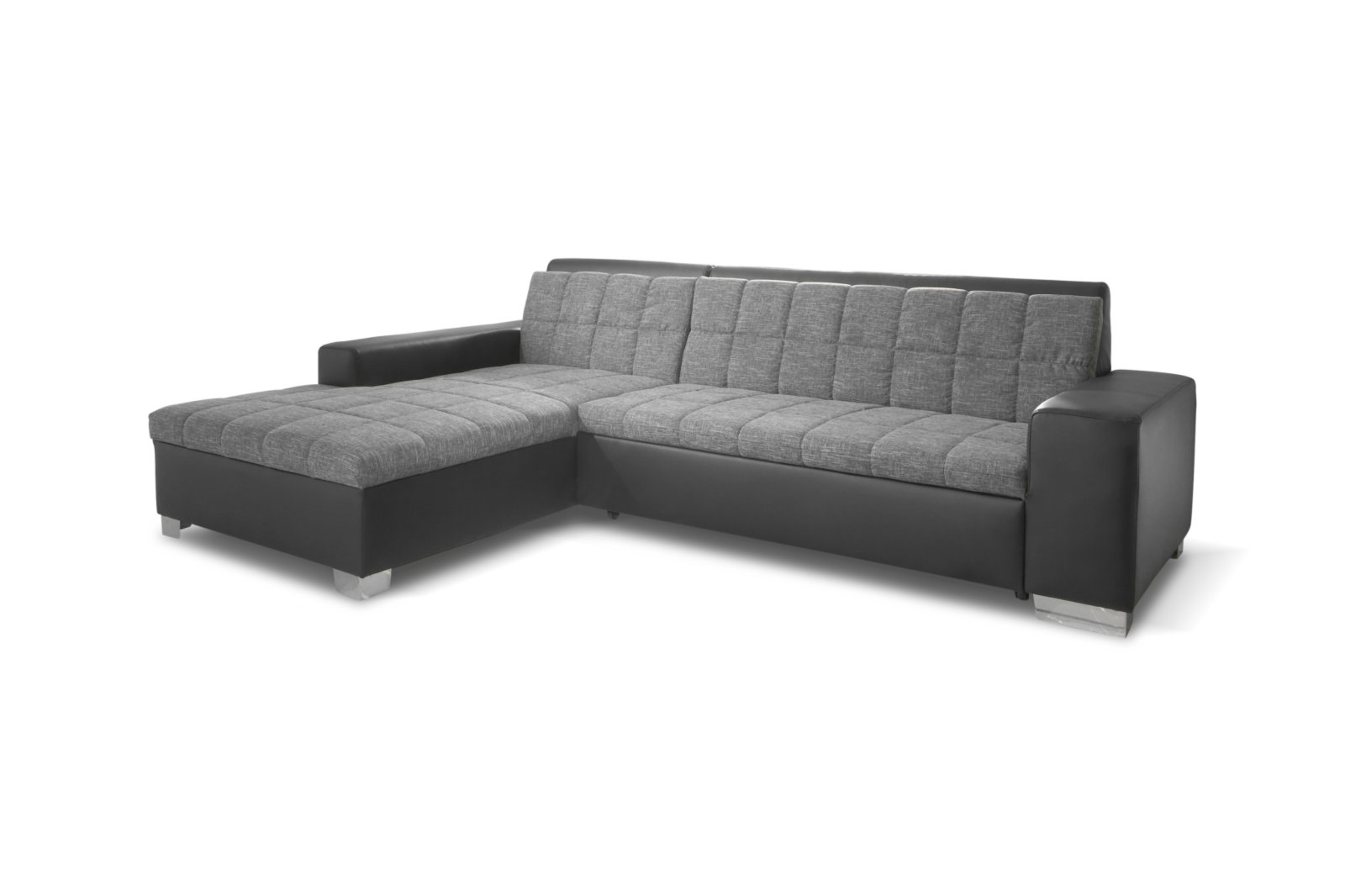 Polsterecke grau schwarz recamiere links ecksofas l for Sofa l form grau