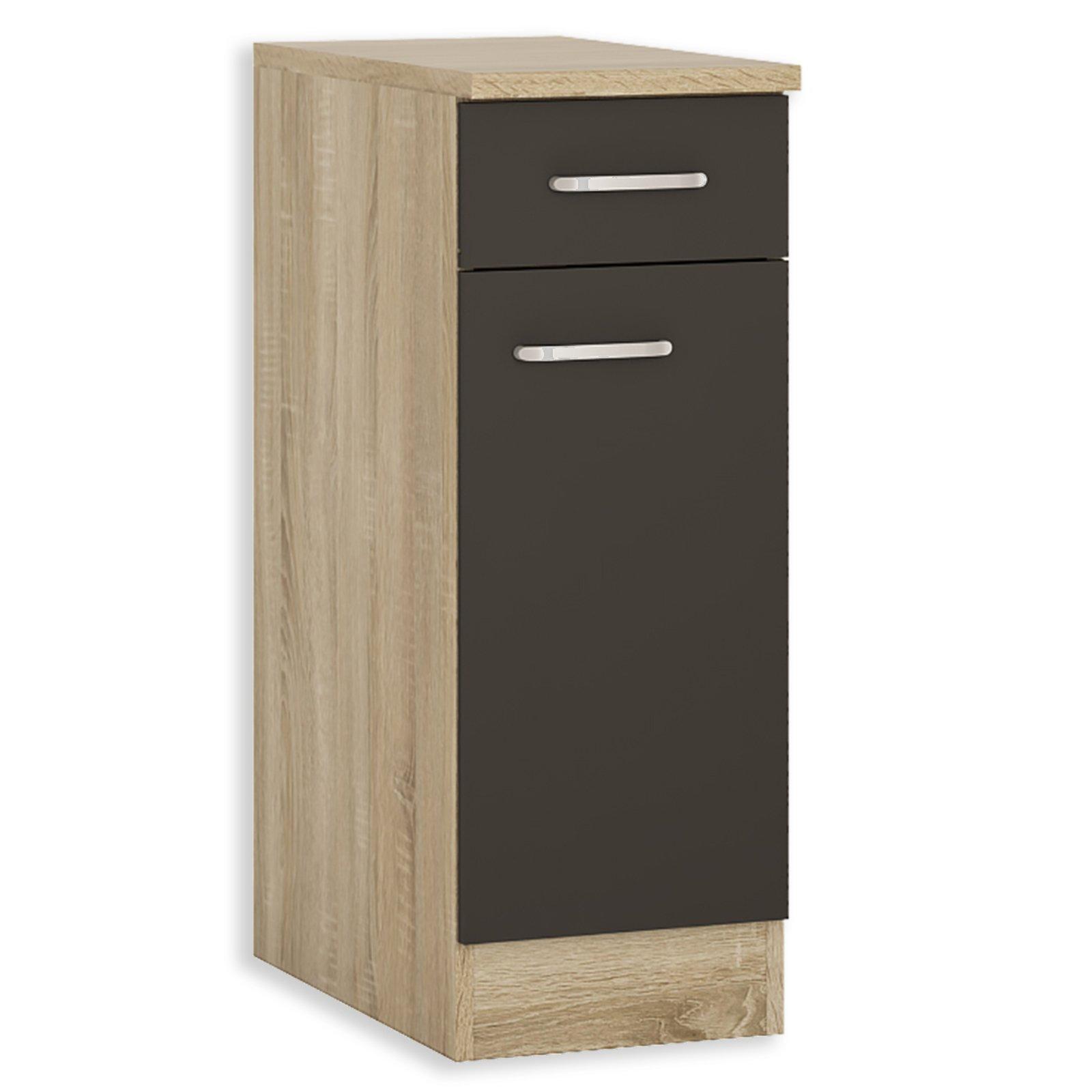 anrichte fox anthrazit sonoma eiche 30 cm breit unterschr nke einzelschr nke. Black Bedroom Furniture Sets. Home Design Ideas