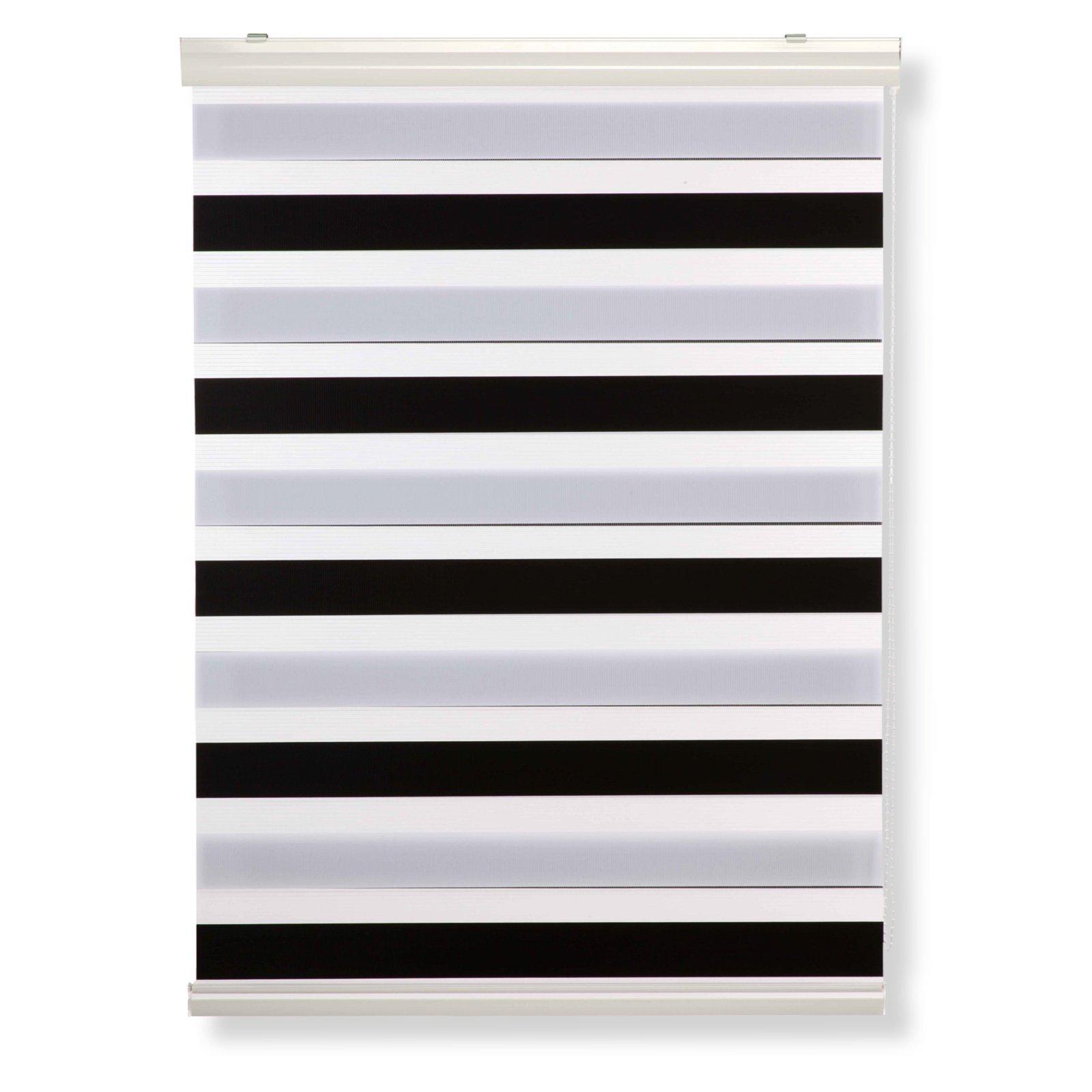 doppelrollo schwarz wei 120x180 cm doppelrollos rollos jalousien deko haushalt. Black Bedroom Furniture Sets. Home Design Ideas