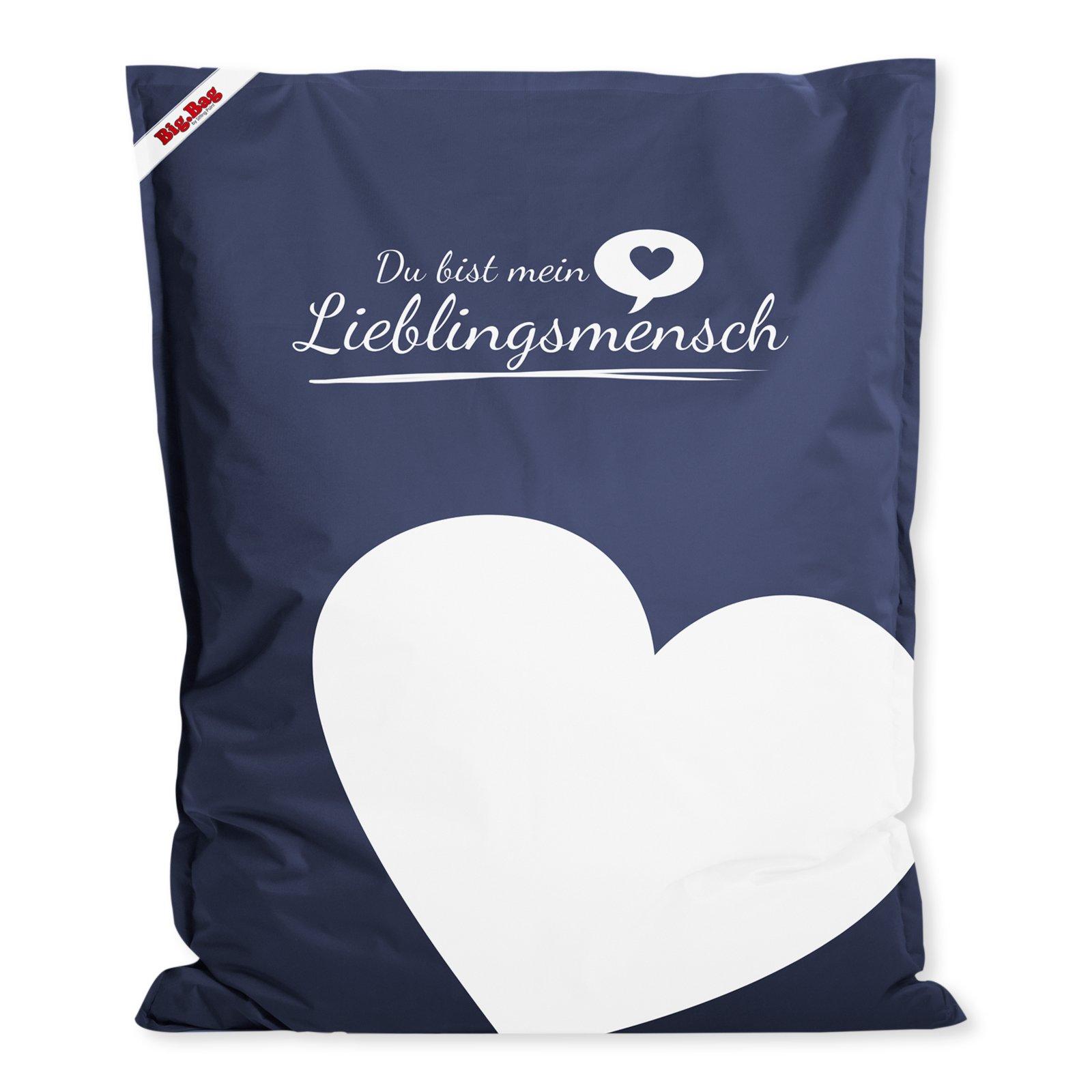 sitzsack big bag jeansblau lieblingsmensch 130x170 cm sitzs cke kinder jugendzimmer. Black Bedroom Furniture Sets. Home Design Ideas