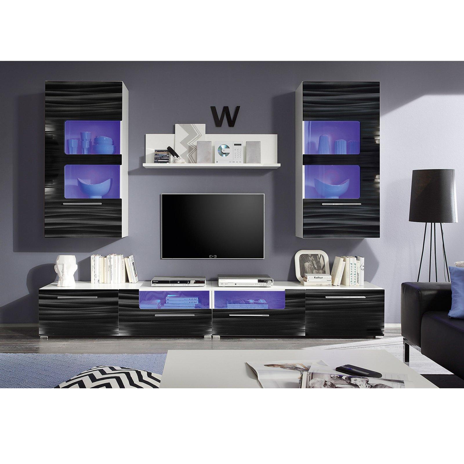 Wohnwand Corner Weiß Schwarz Hochglanz Blaue Beleuchtung