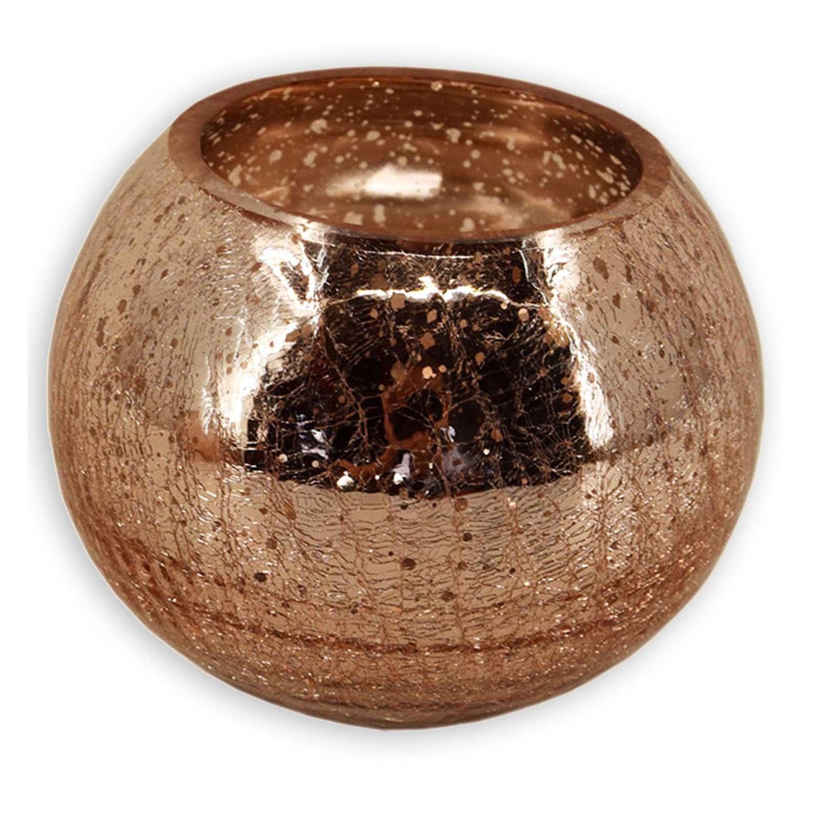 Windlichtglas - kupfer - Kugel - 15 cm