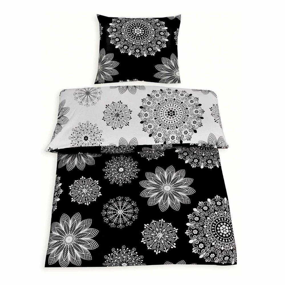 renforce bettw sche luisa schwarz wei 155x220 cm bettw sche bettw sche bettlaken. Black Bedroom Furniture Sets. Home Design Ideas