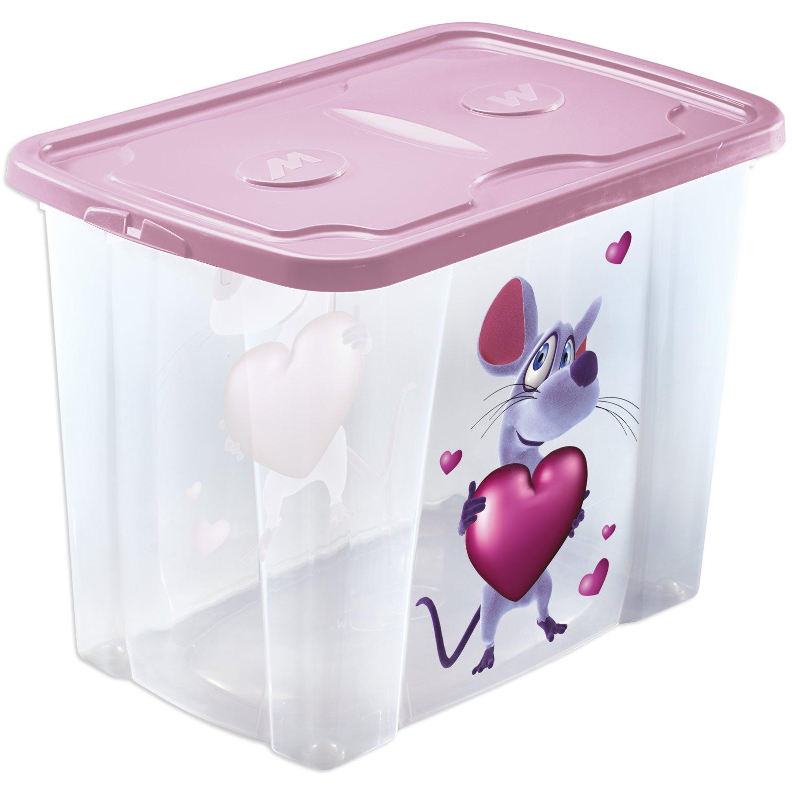 rollbox maus rosa mit deckel 64 liter spielzeug. Black Bedroom Furniture Sets. Home Design Ideas