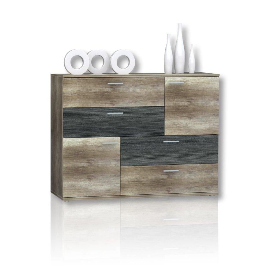 roller kommode skive eiche antik touchwood ebay. Black Bedroom Furniture Sets. Home Design Ideas