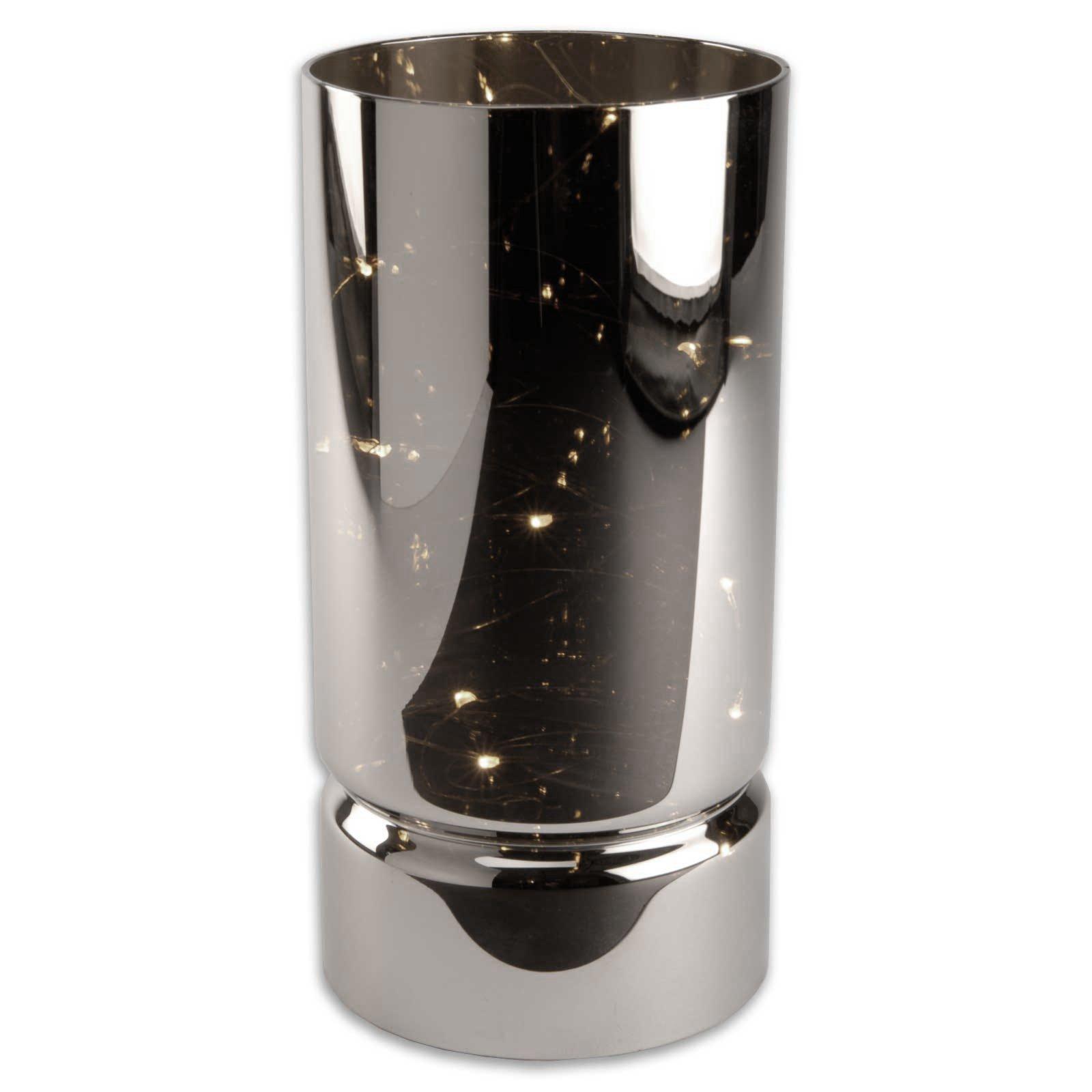 led windlicht silber glas 10 leds kerzen. Black Bedroom Furniture Sets. Home Design Ideas
