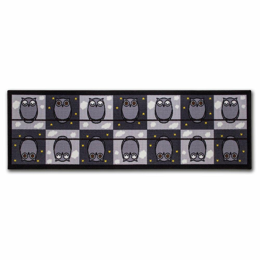 teppich emil die eule schwarz wei 57x180 cm k chenteppiche teppiche l ufer deko. Black Bedroom Furniture Sets. Home Design Ideas
