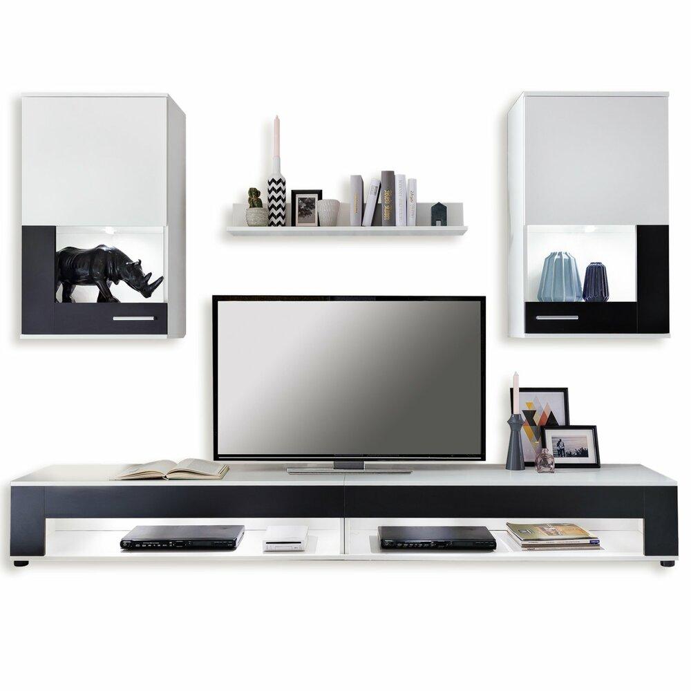 wohnwand square wei schwarz 5 teilig wohnw nde m bel roller m belhaus. Black Bedroom Furniture Sets. Home Design Ideas