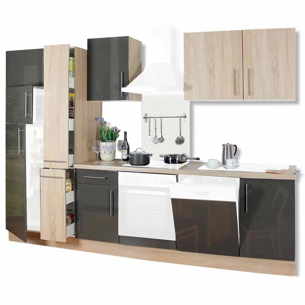 k chenblock jana sonoma eiche lava hochglanz 310 cm. Black Bedroom Furniture Sets. Home Design Ideas