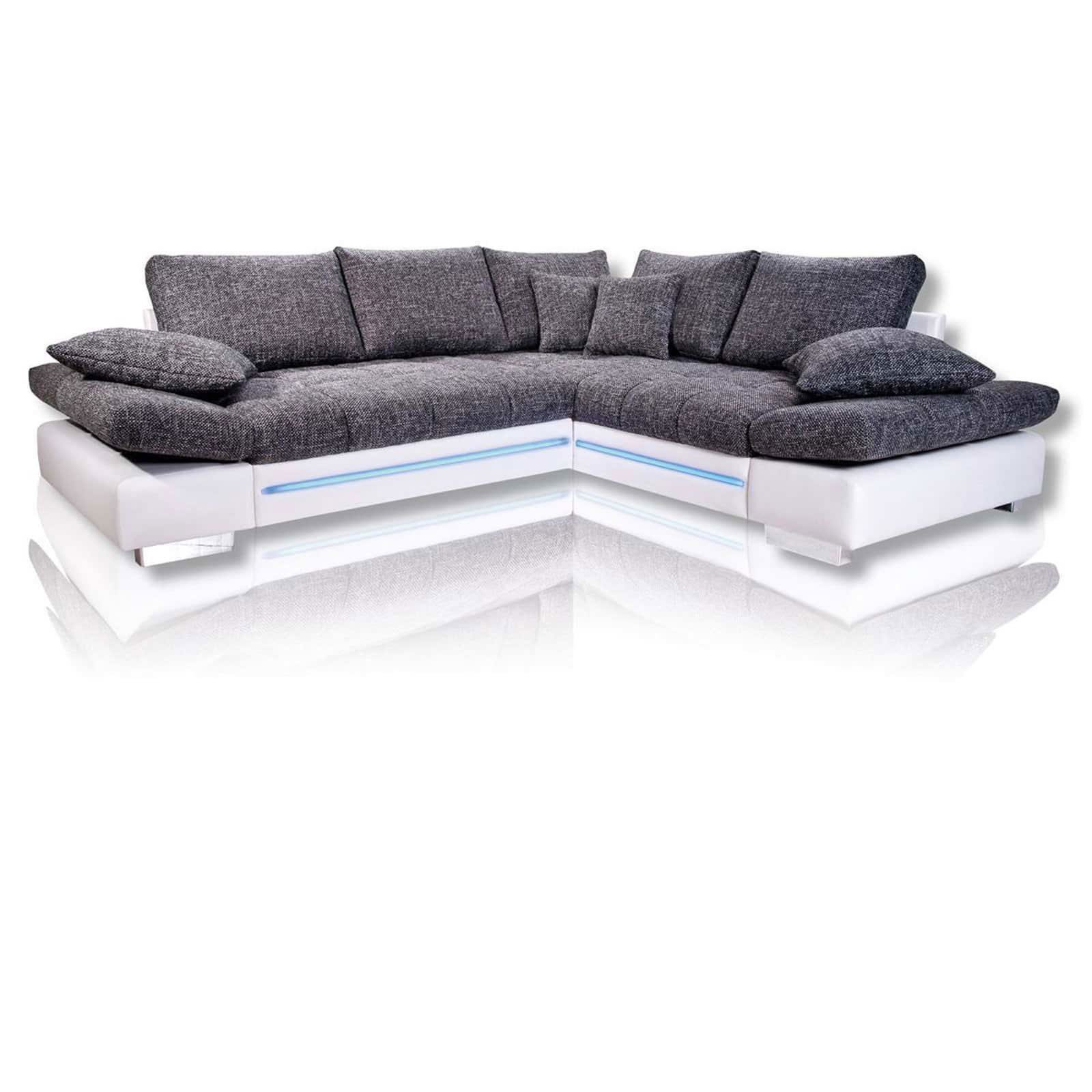ecksofa wei silber led 2 sitzer links ecksofas l form sofas couches m bel roller. Black Bedroom Furniture Sets. Home Design Ideas
