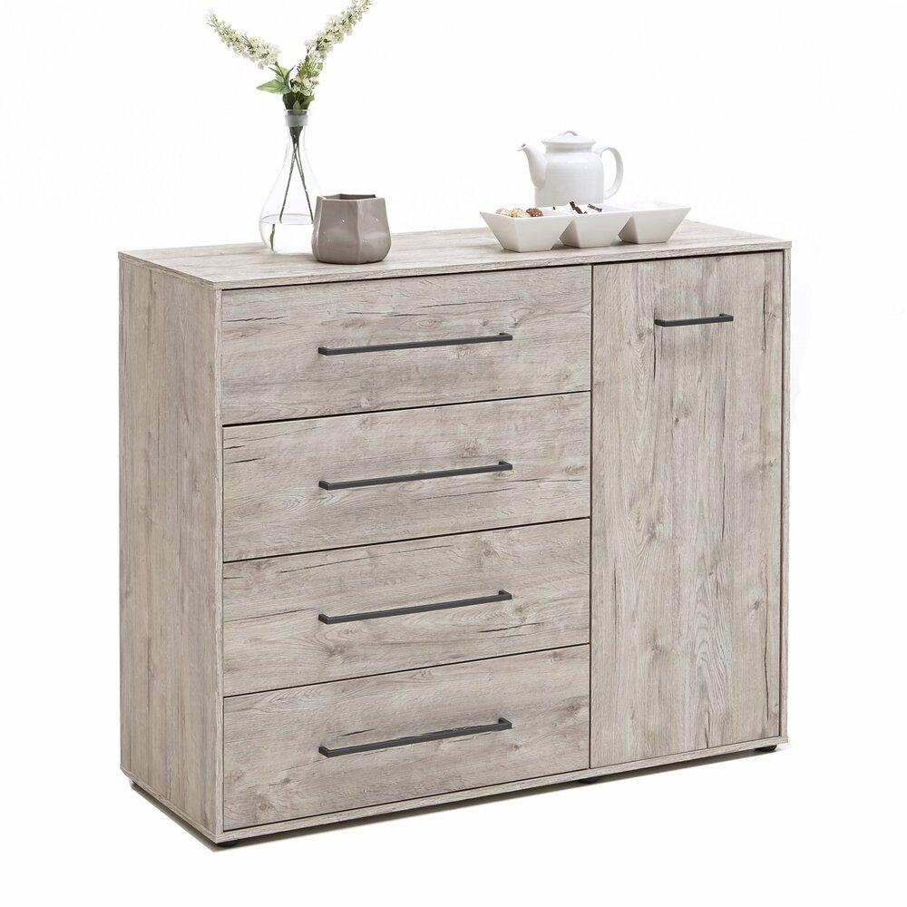 kommode juli sandeiche 106 cm kommoden sideboards m bel roller m belhaus. Black Bedroom Furniture Sets. Home Design Ideas