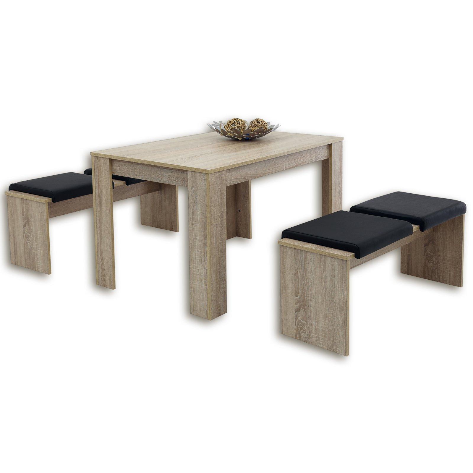 3 teilige tischgruppe lille sonoma eiche ebay. Black Bedroom Furniture Sets. Home Design Ideas