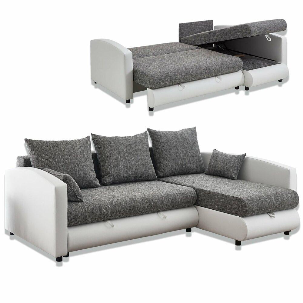 ecksofa wei grau mit liegefunktion ecksofas l form sofas couches m bel roller. Black Bedroom Furniture Sets. Home Design Ideas