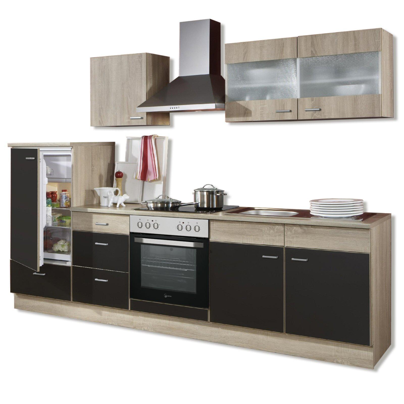 k chenblock jolina lava matt sonoma eiche mit e ger ten ebay. Black Bedroom Furniture Sets. Home Design Ideas