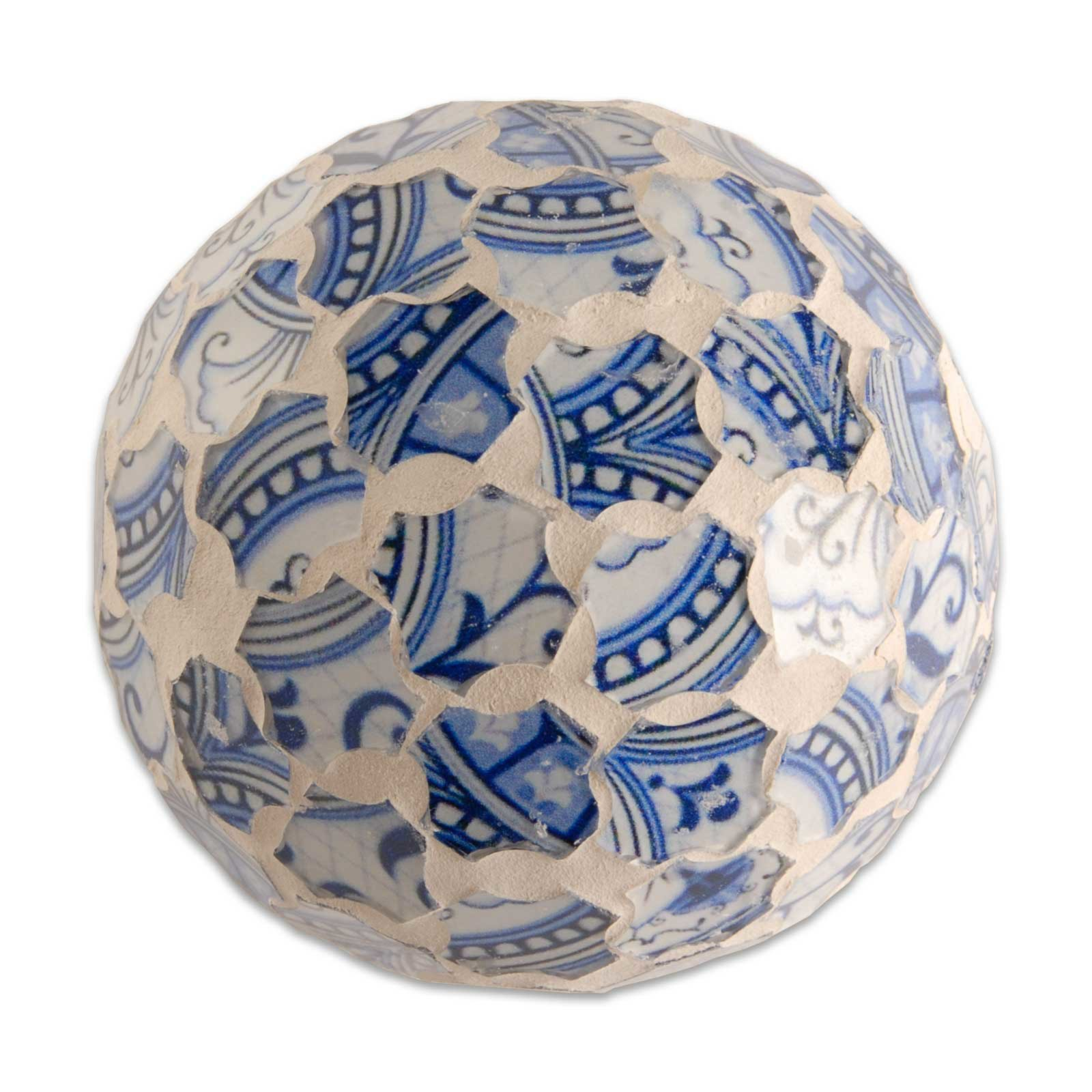 Dekokugel - blau-weiß - Mosaik - 8,5 cm