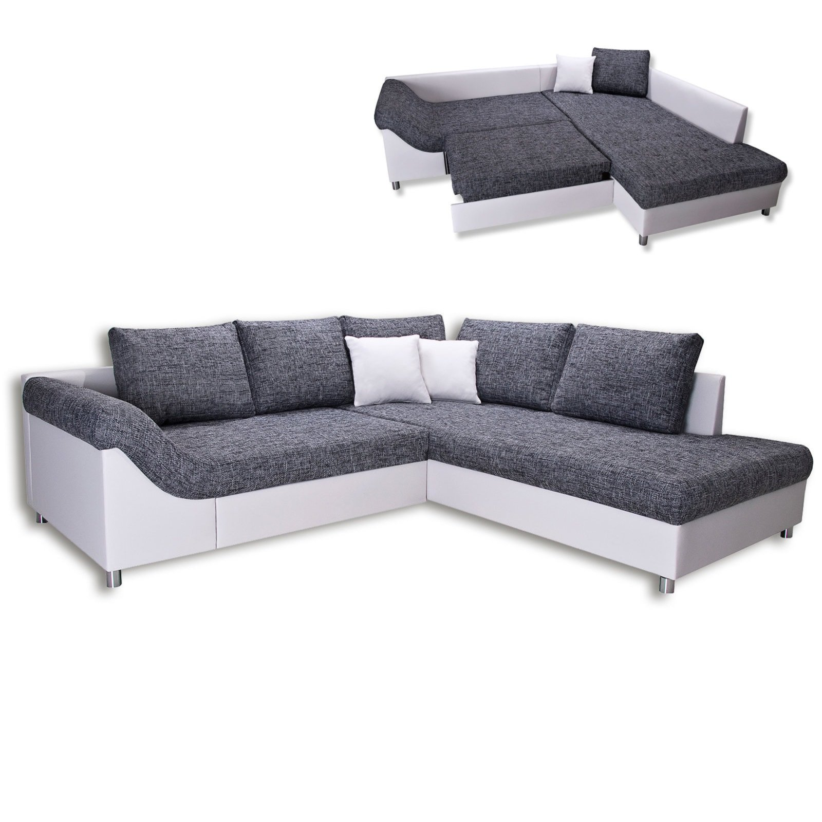 ecksofa grau wei armlehne links liegefunktion. Black Bedroom Furniture Sets. Home Design Ideas