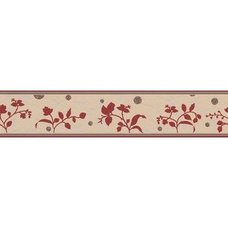 A.S. Creation Vinyl-Borte ONLY BORDERS 8 - bordeaux - Blumen - 13 cm