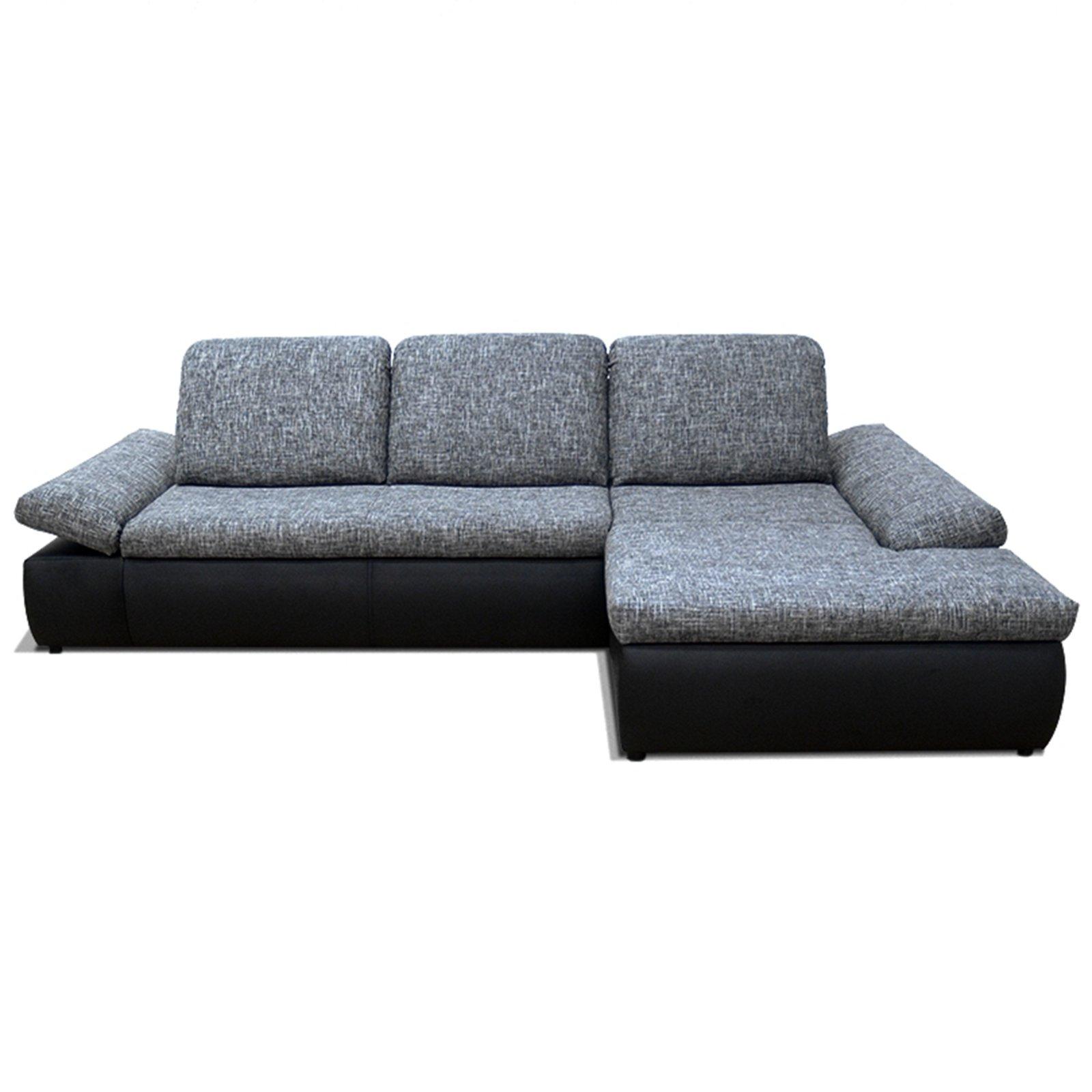 polsterecke dunkelgrau schwarz sitztiefenverstellung recamiere rechts ecksofas l form. Black Bedroom Furniture Sets. Home Design Ideas