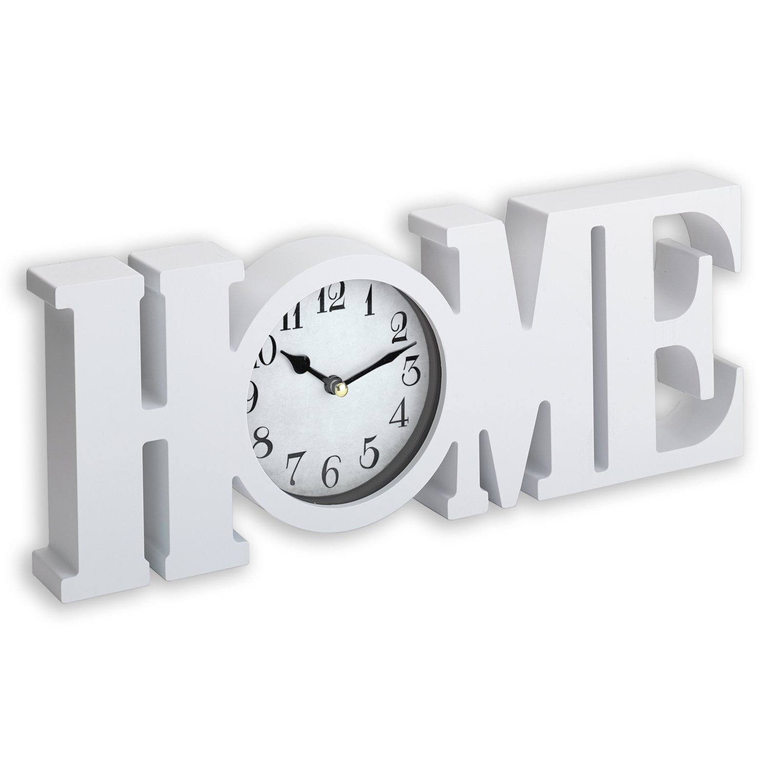 tischuhr home wei 39x14 cm uhren wecker deko. Black Bedroom Furniture Sets. Home Design Ideas