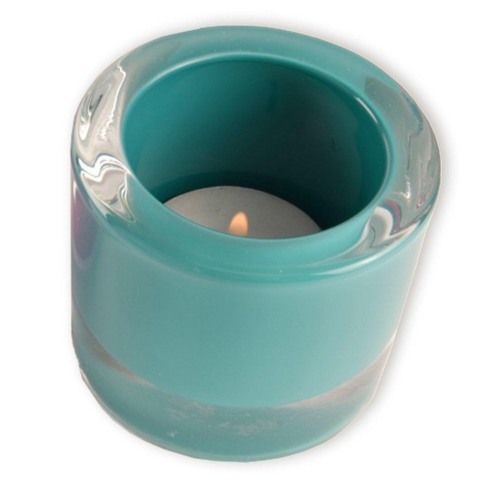 Glas-Windlicht - türkis - Ø 6,5 cm
