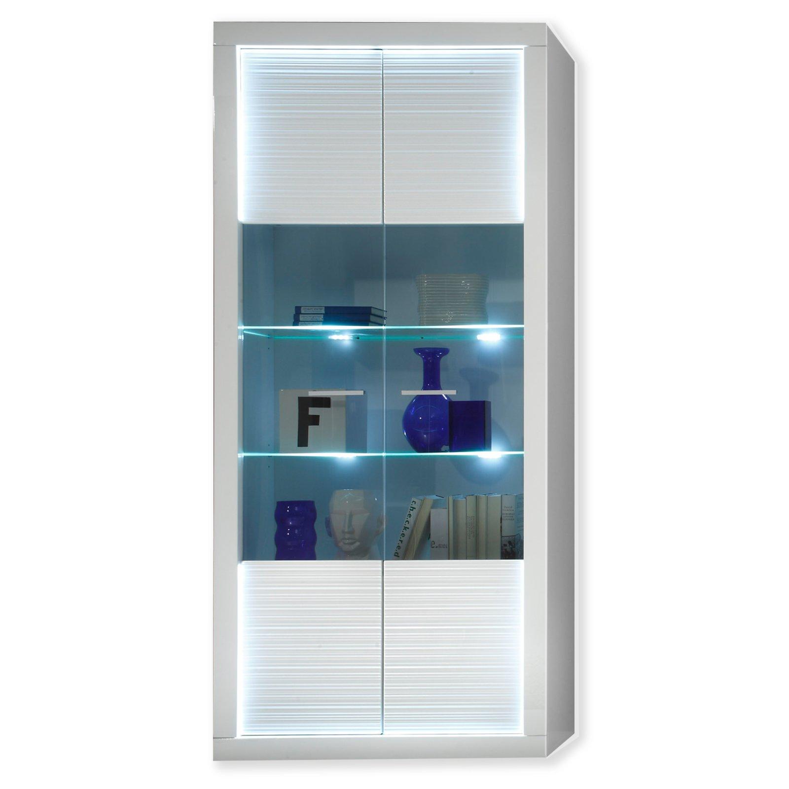 vitrine starlight wei hochglanz beleuchtung 90 cm vitrinen m bel m belhaus roller. Black Bedroom Furniture Sets. Home Design Ideas