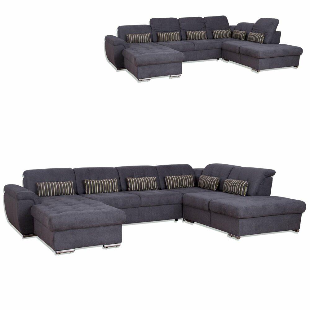 wohnlandschaft grau microfaser liegefunktion wohnlandschaften u form sofas couches. Black Bedroom Furniture Sets. Home Design Ideas