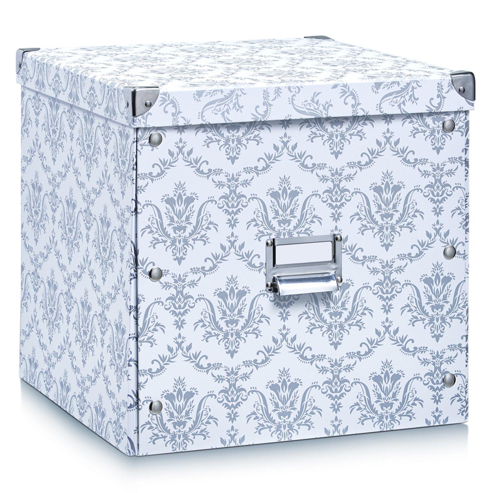 aufbewahrungsbox wei grau 33 5x33 cm dekorative. Black Bedroom Furniture Sets. Home Design Ideas