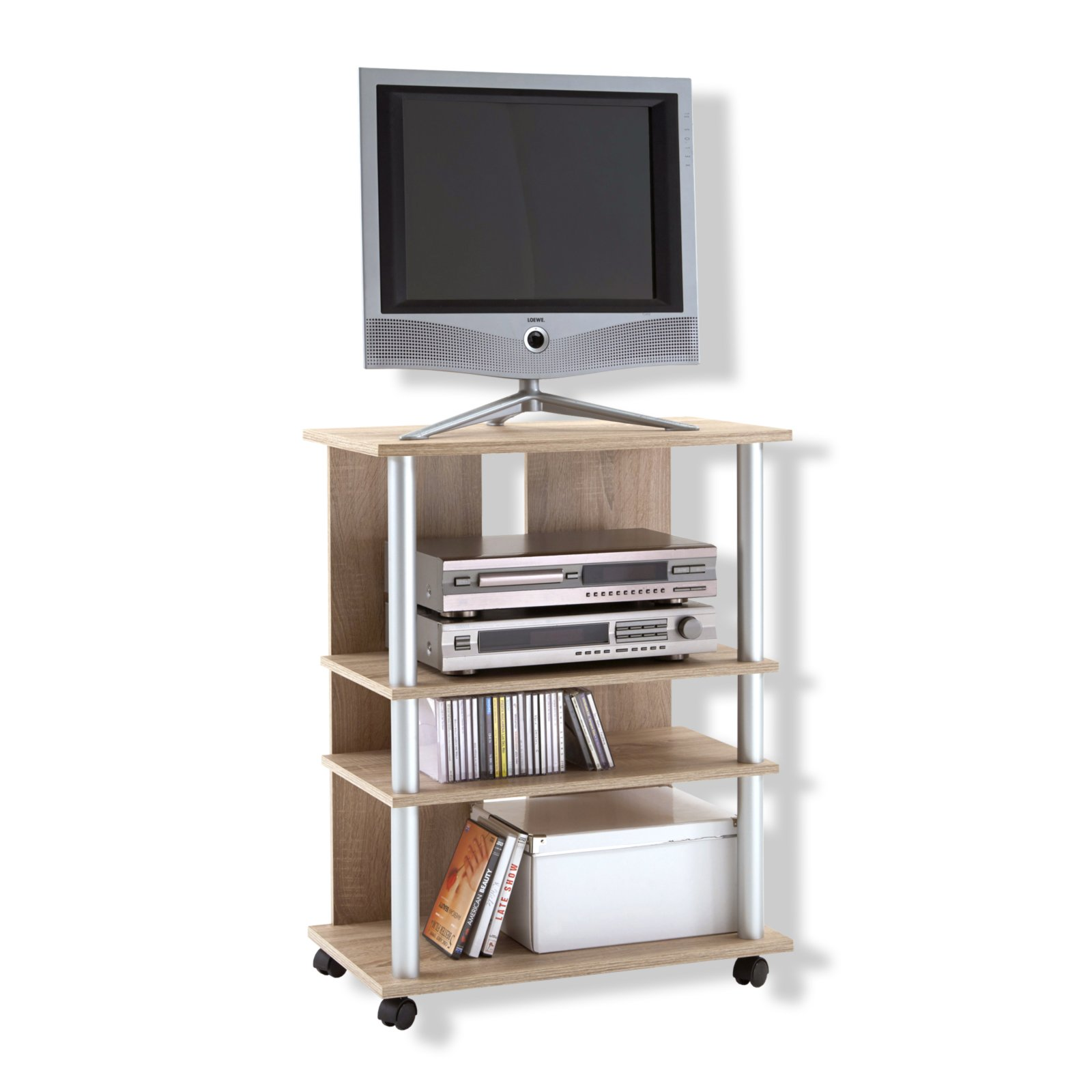 roller tv hifi rack variant 7 sonoma eiche mit rollen ebay. Black Bedroom Furniture Sets. Home Design Ideas