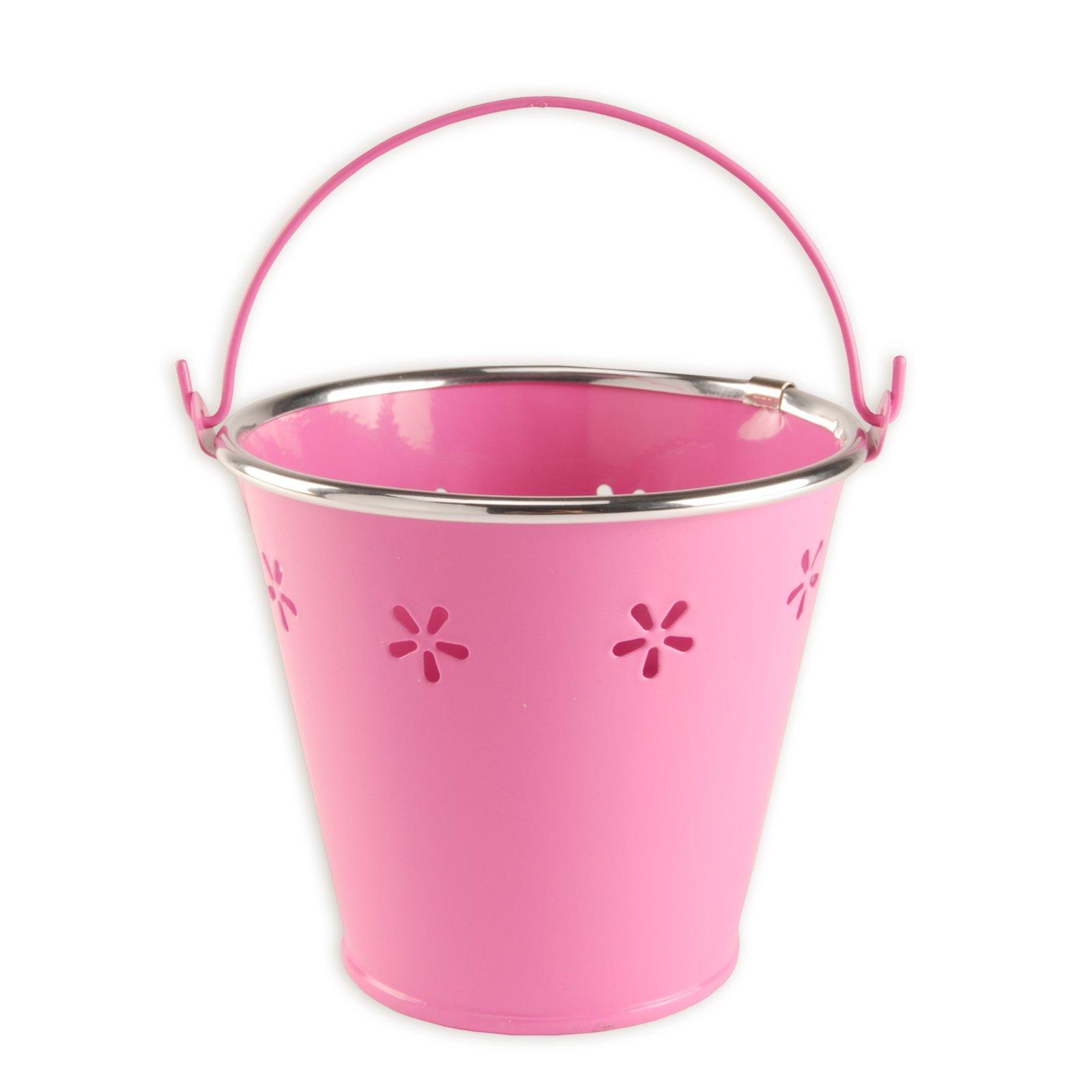pflanzeimer mit henkel pink lochmuster blument pfe pflanzgef e garten m belhaus roller. Black Bedroom Furniture Sets. Home Design Ideas