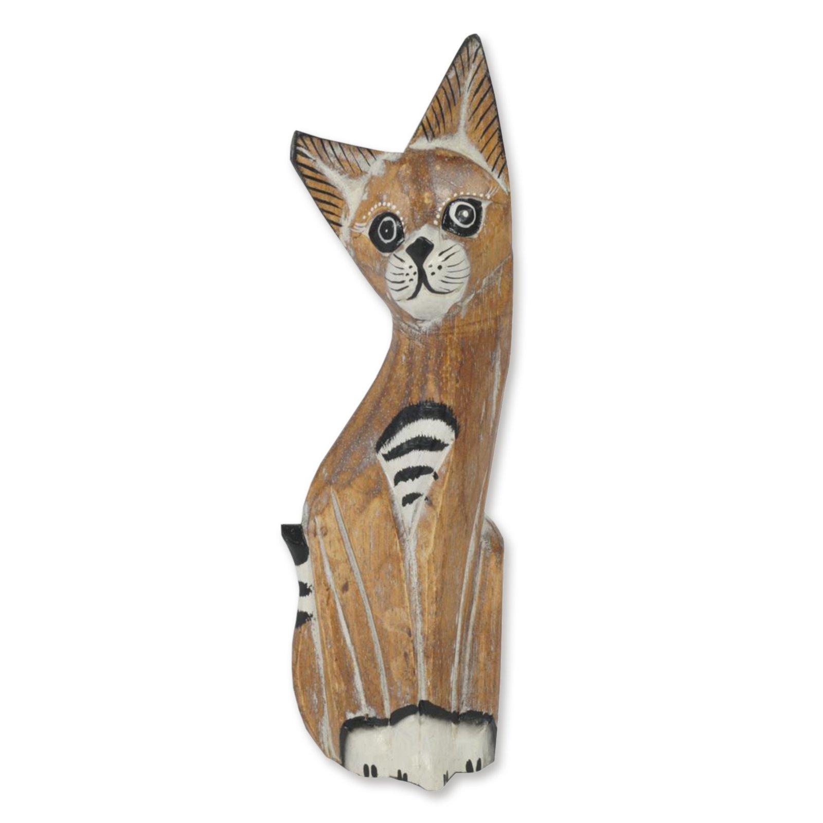 Dekofigur - Katze - Holz - handgeschnitzt - 25 cm