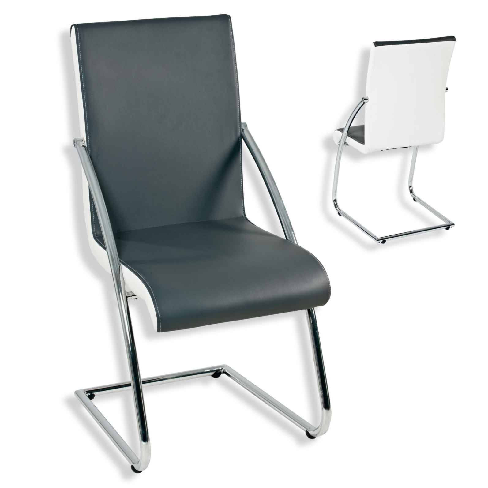 Stühle weiß grau  Schwingstuhl SOPHIE - grau-weiß - Kunstleder | Freischwinger ...