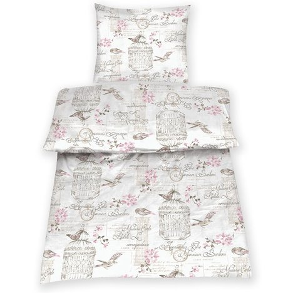microfaser bettw sche bird rosa wei 155x220 cm. Black Bedroom Furniture Sets. Home Design Ideas