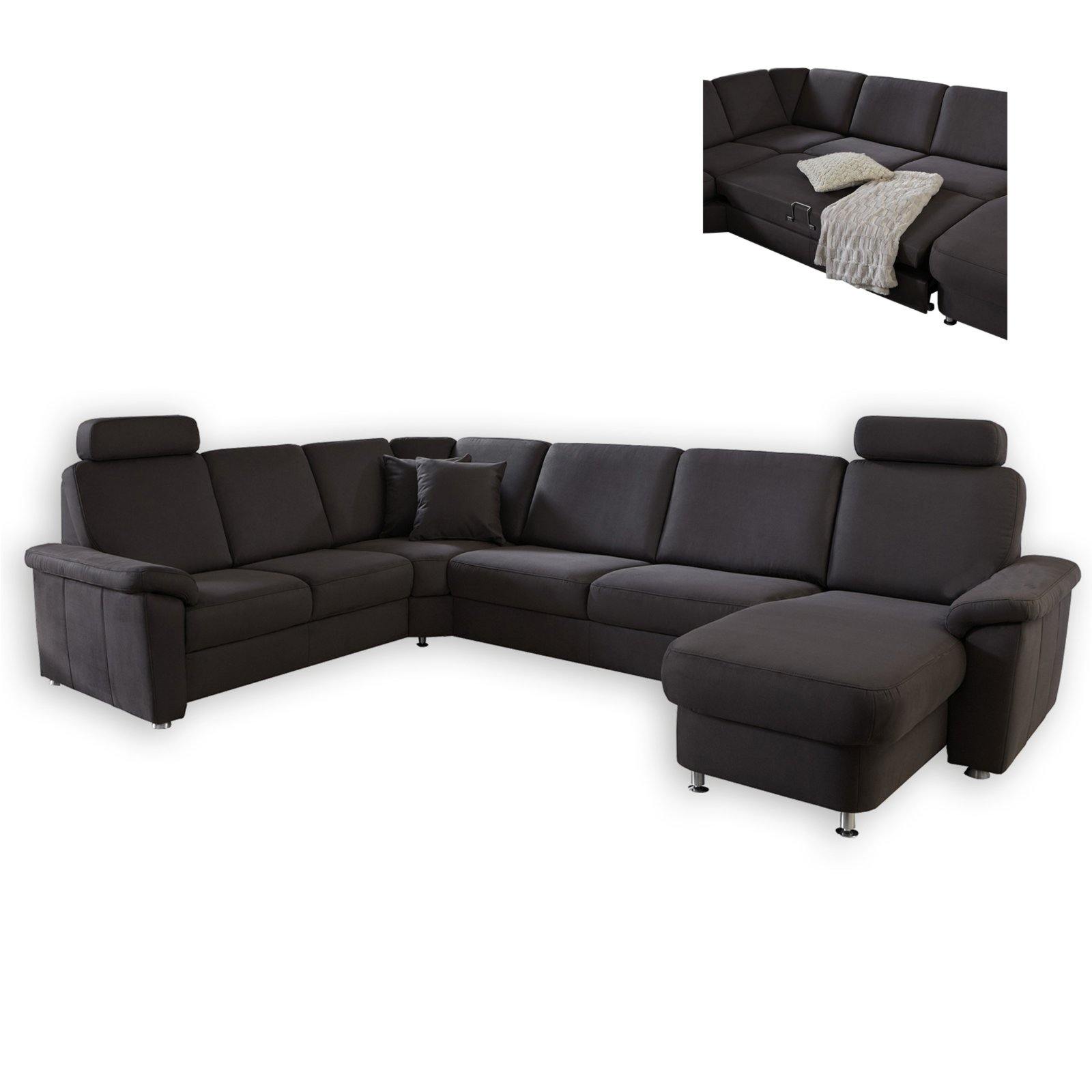 wohnlandschaft braun liegefunktion wohnlandschaften u form sofas couches m bel. Black Bedroom Furniture Sets. Home Design Ideas