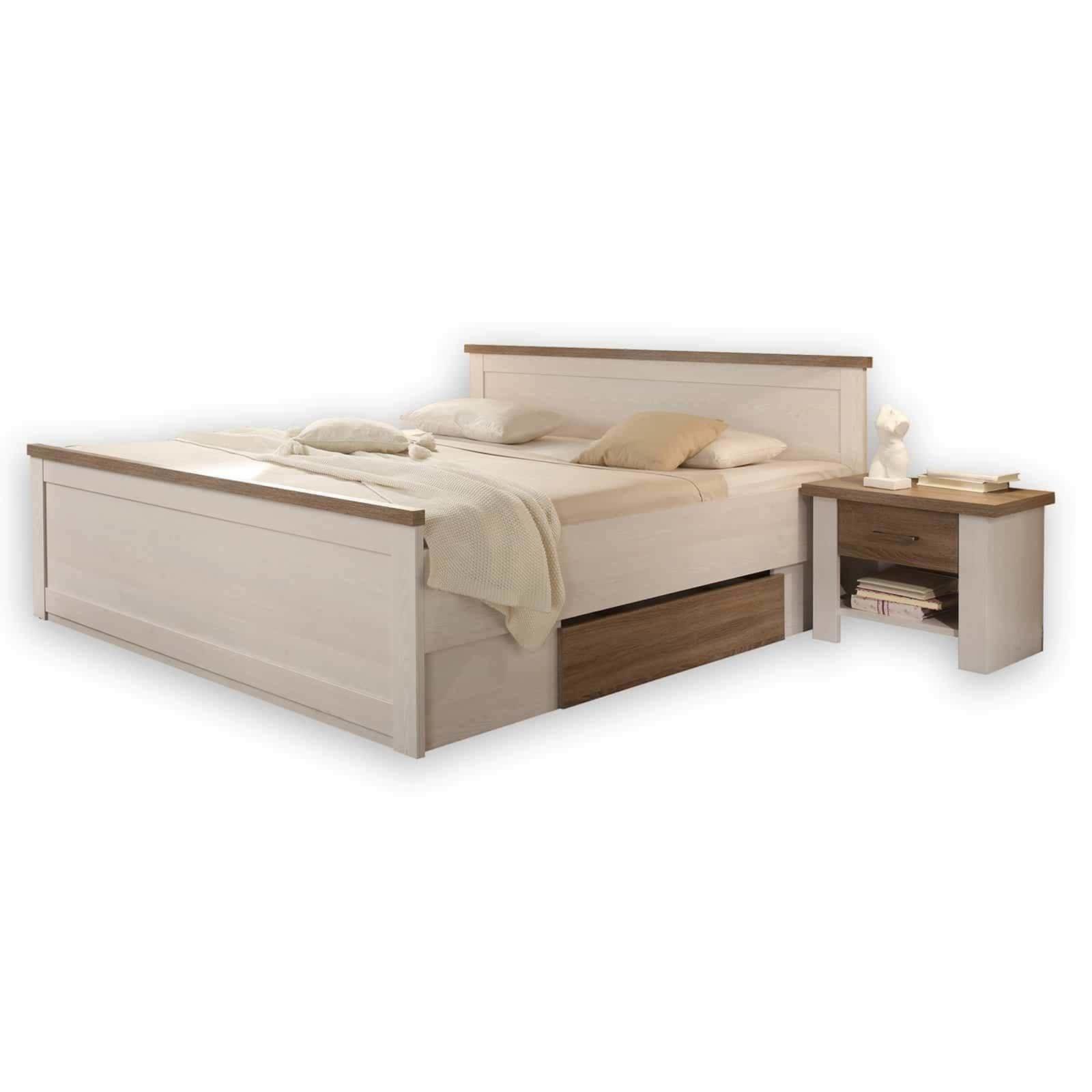 5-teiliges Schlafzimmer-Set - Pinie weiß-Trüffel