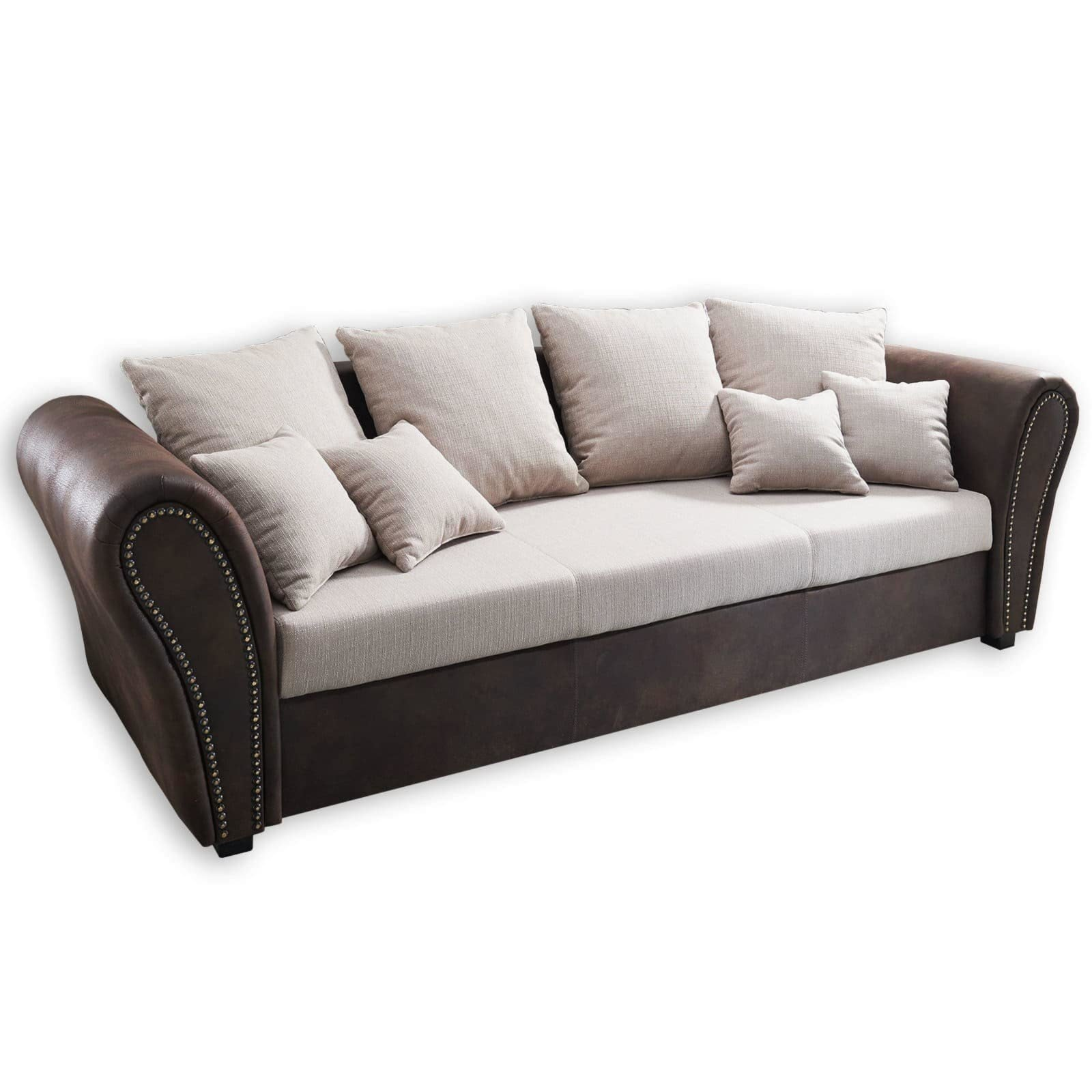 roller big sofa beige braun mit kissen ebay. Black Bedroom Furniture Sets. Home Design Ideas